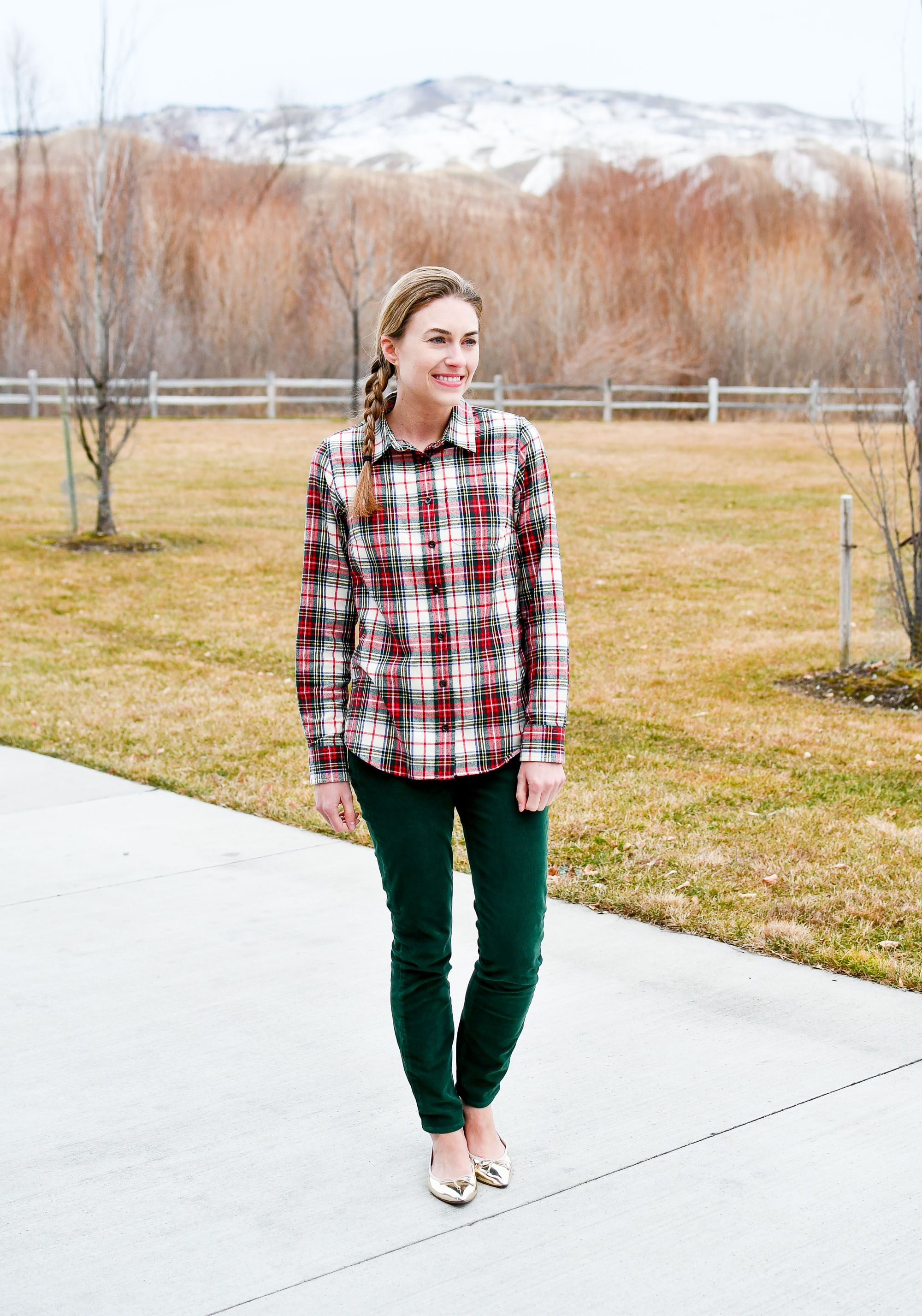 Holiday work outfit with plaid flannel shirt and green corduroy pants — Cotton Cashmere Cat Hair
