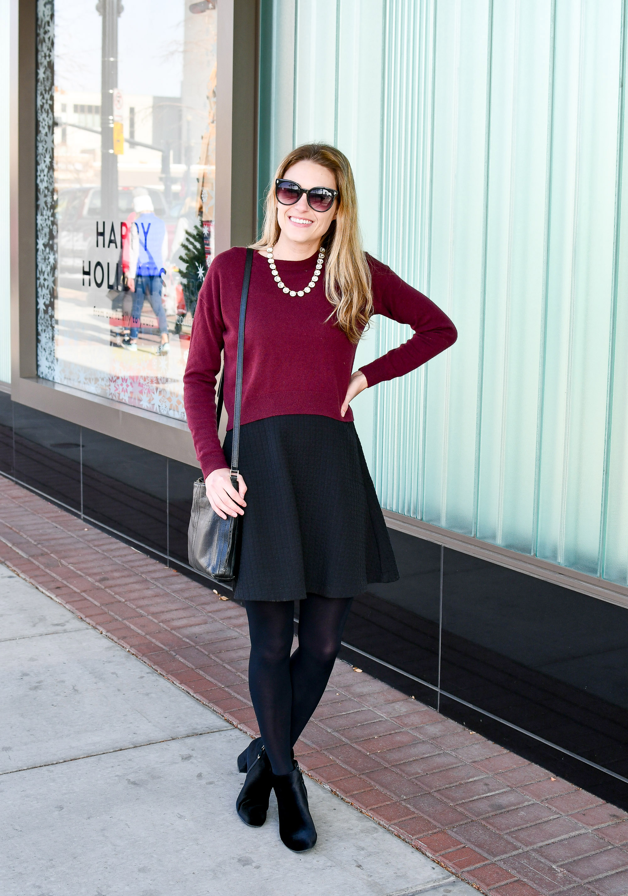 Fancy holiday style with statement necklace and velvet boots — Cotton Cashmere Cat Hair