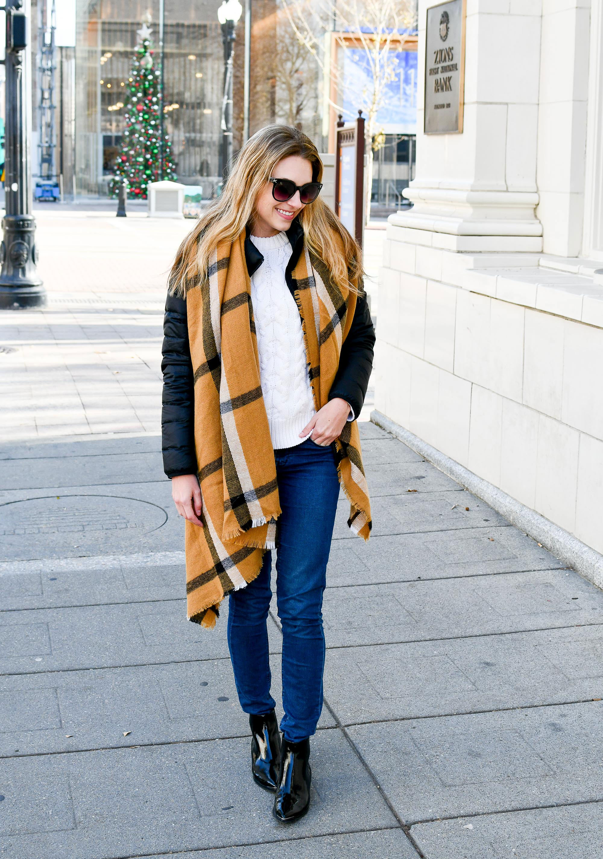 Casual holiday style with blanket scarf and black patent boots — Cotton Cashmere Cat Hair