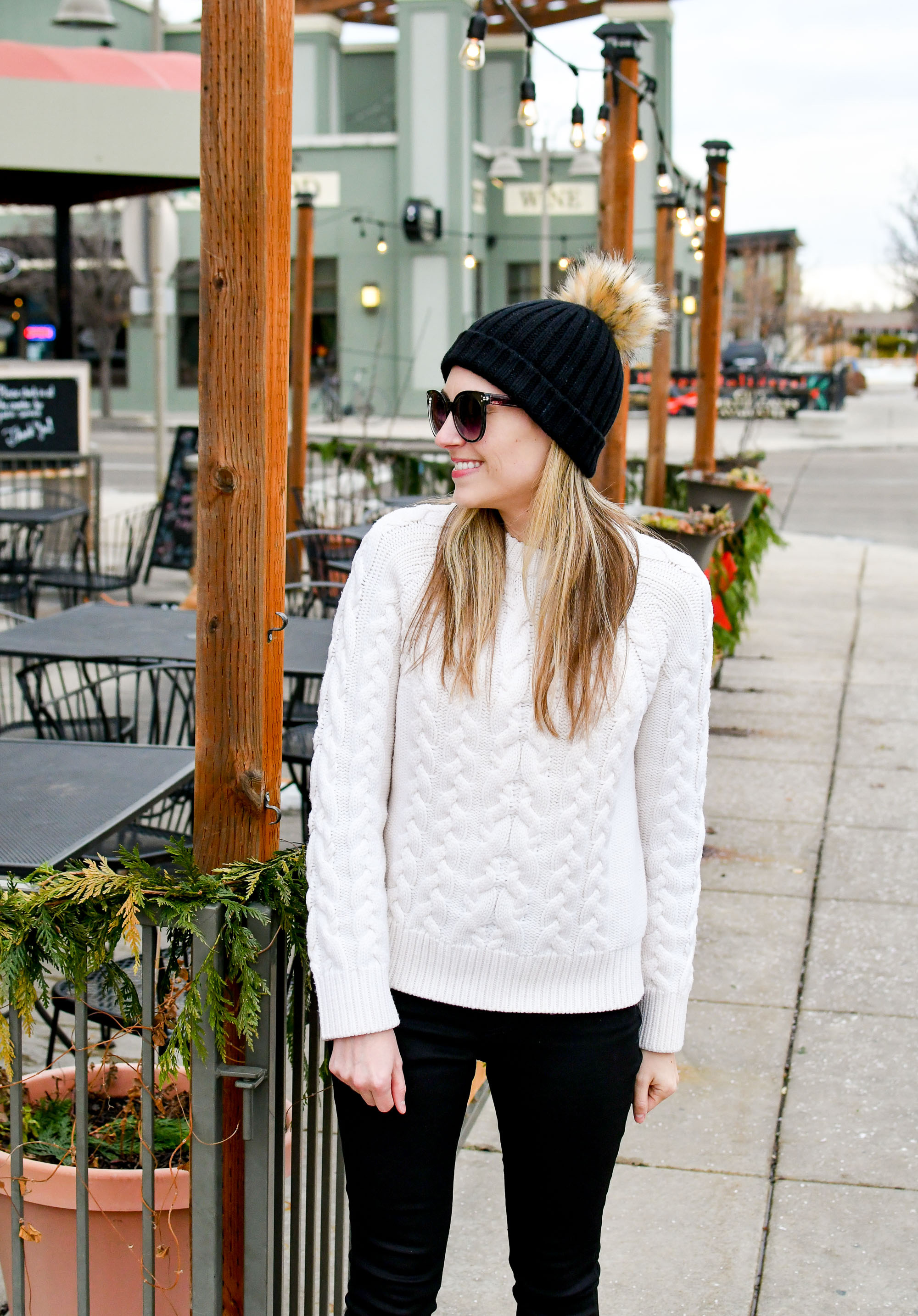 Cable knit sweater winter outfit with black beanie — Cotton Cashmere Cat Hair