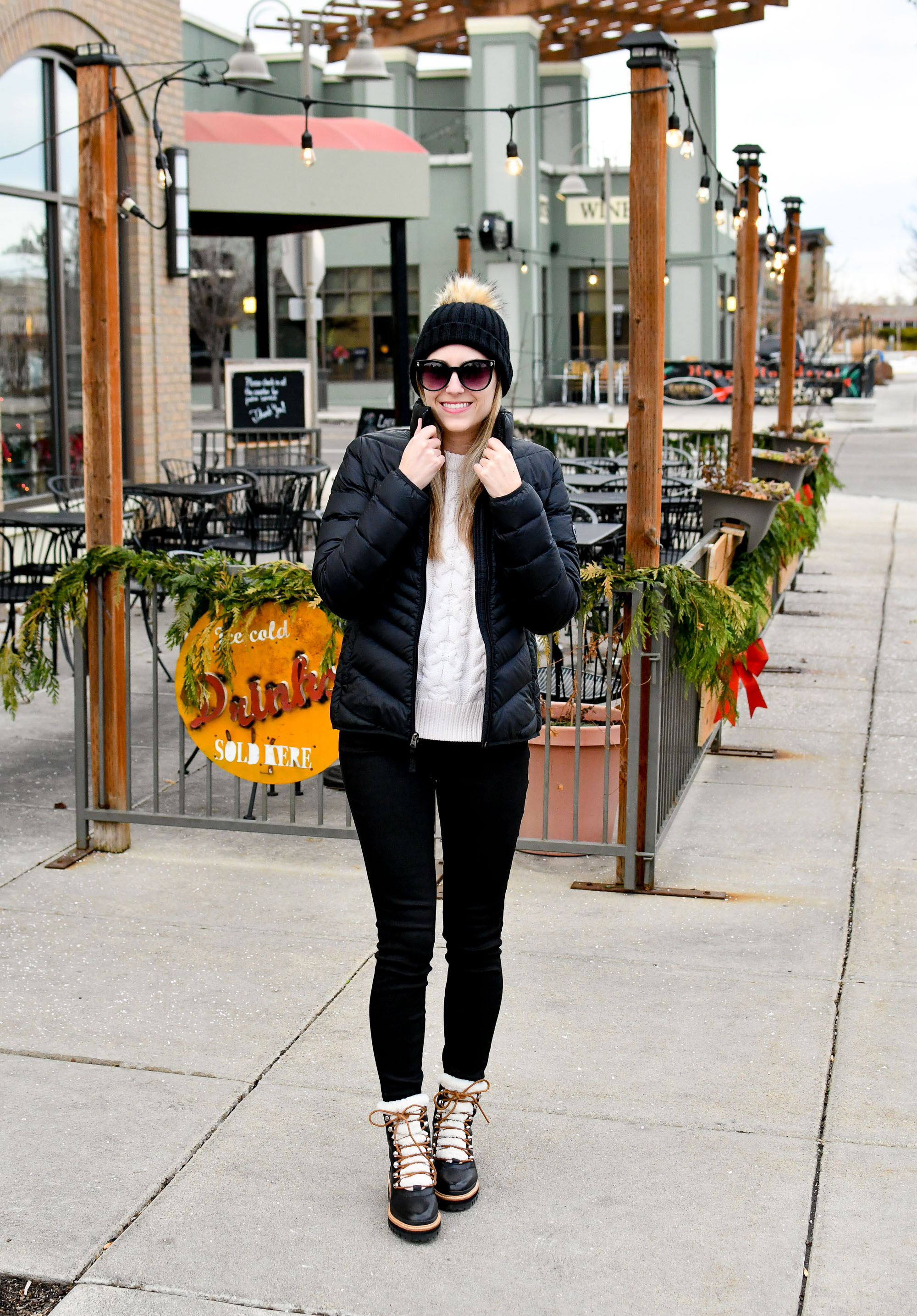 Winter outfit with puffer coat and shearling boots — Cotton Cashmere Cat Hair