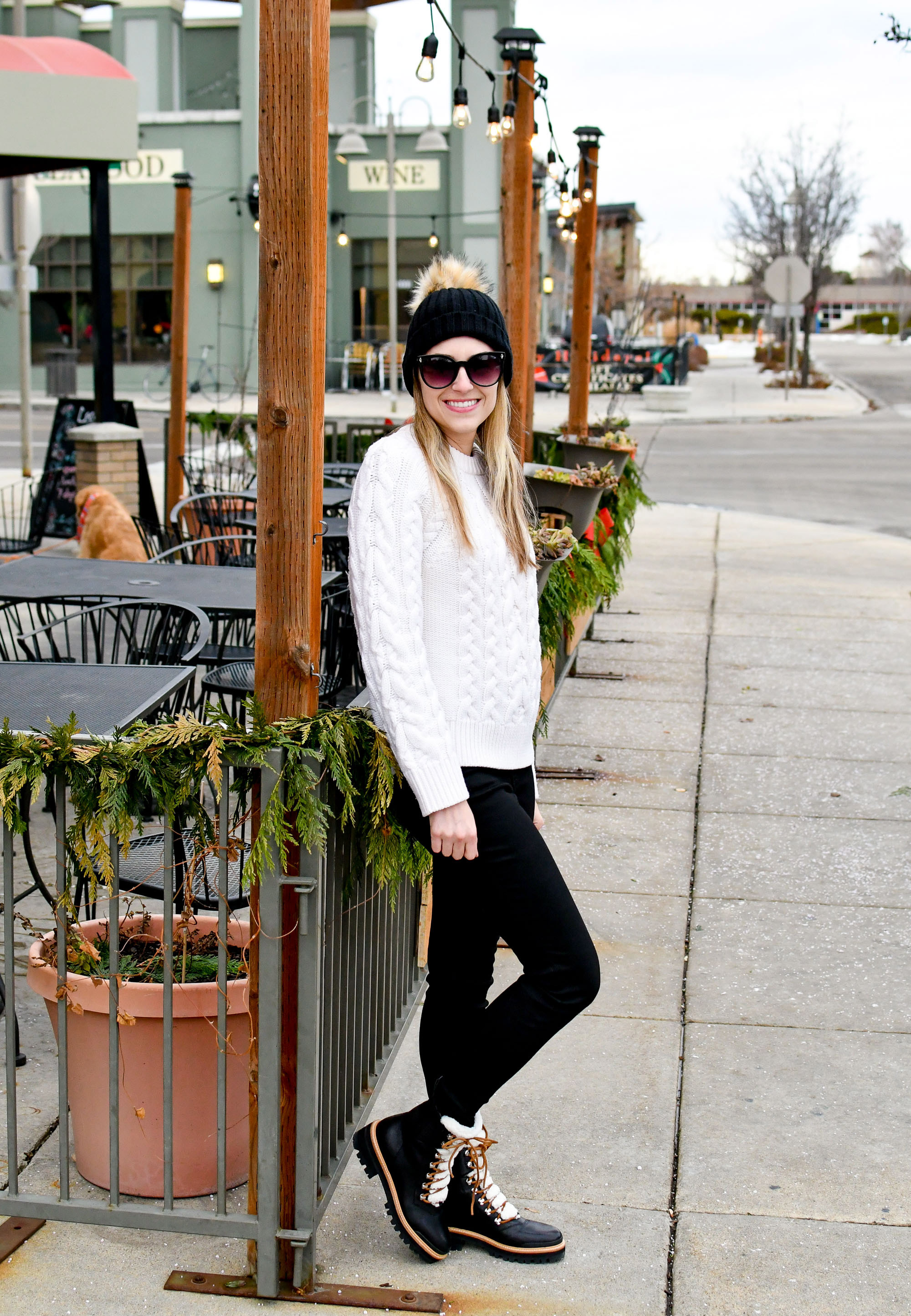 Everlane black skinny jeans winter outfit with cable knit sweater and lace-up boots — Cotton Cashmere Cat Hair