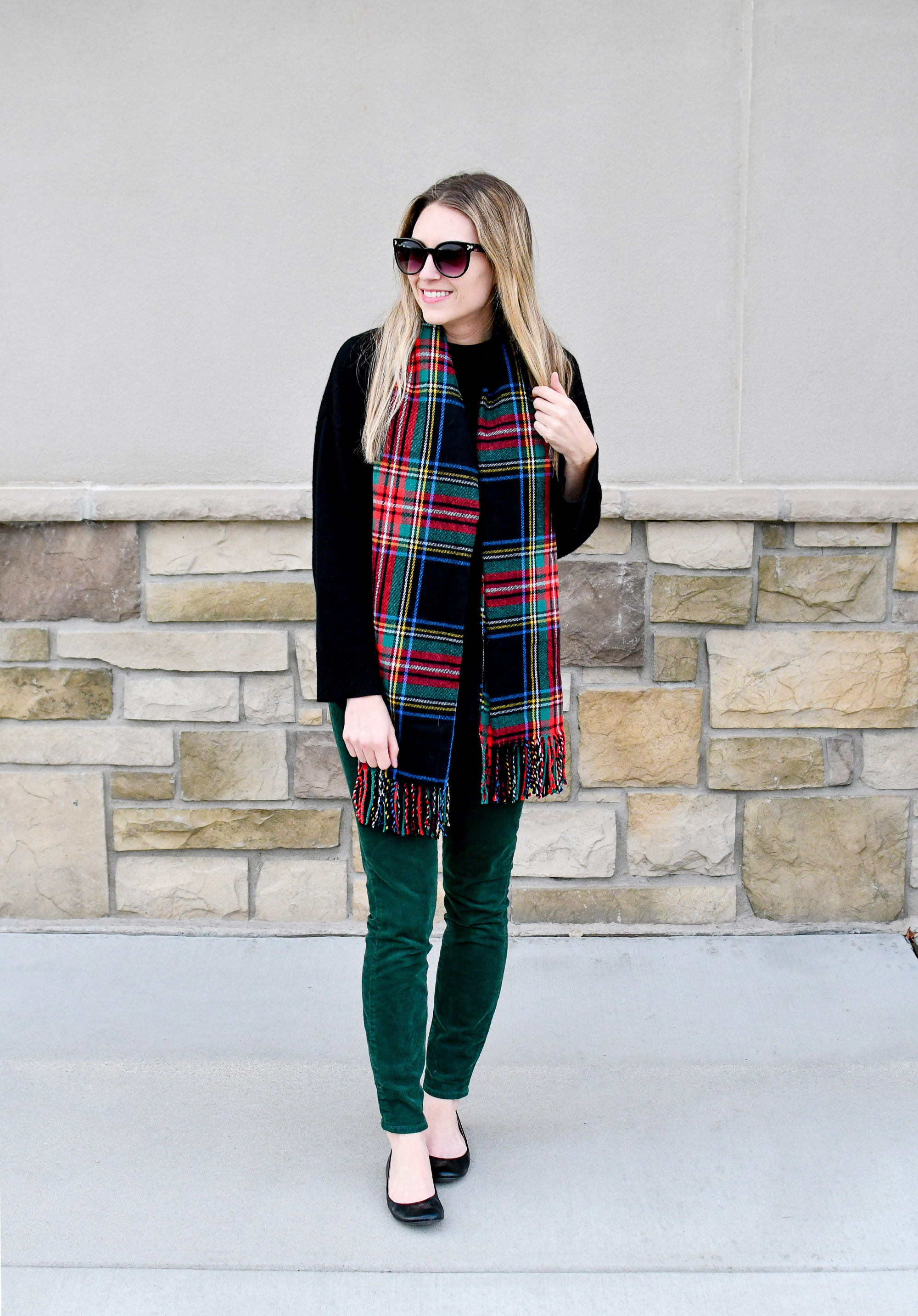 Winter outfit with dark tartan scarf — Cotton Cashmere Cat Hair