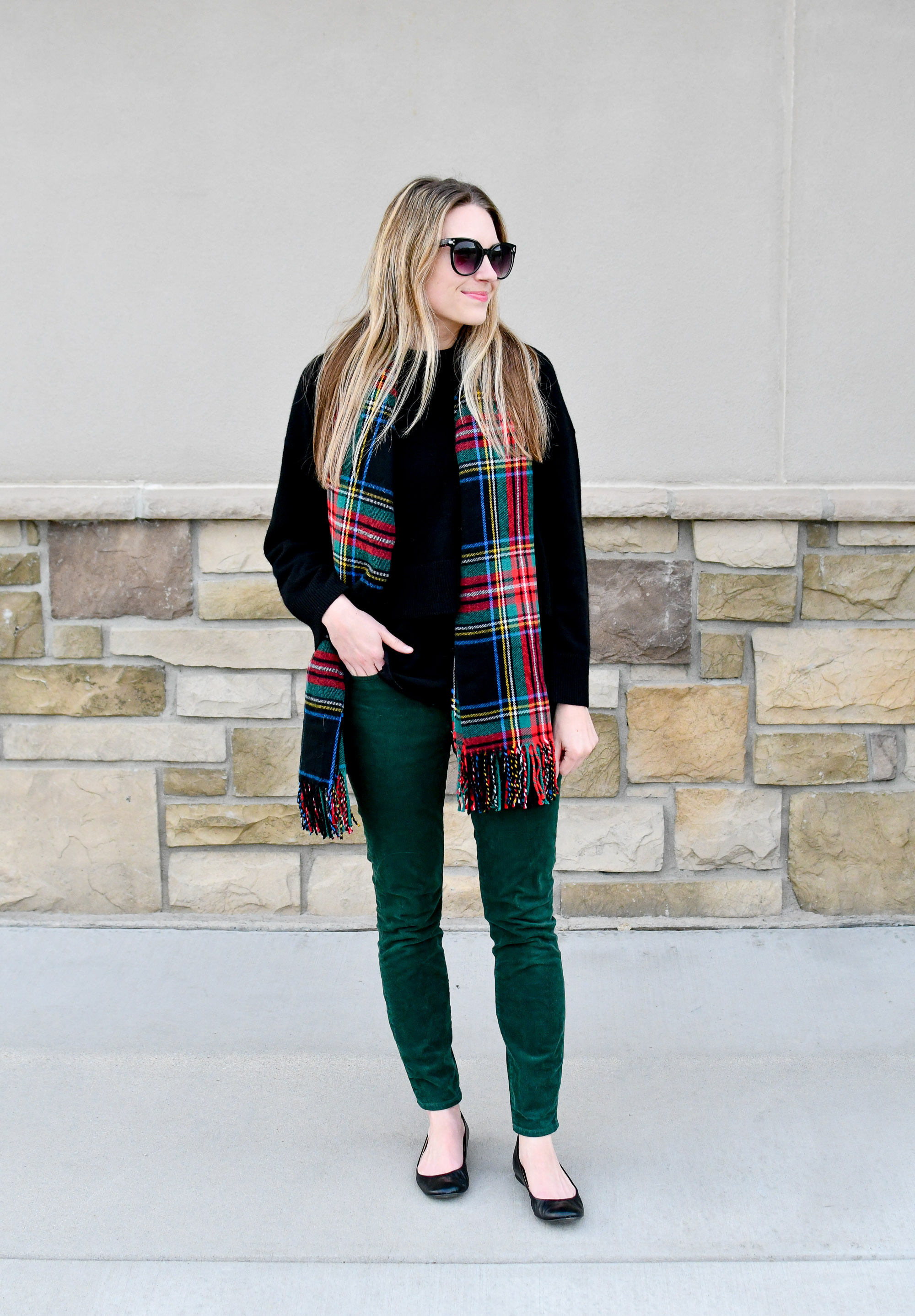 Holiday outfit with tartan scarf and green corduroy pants — Cotton Cashmere Cat Hair