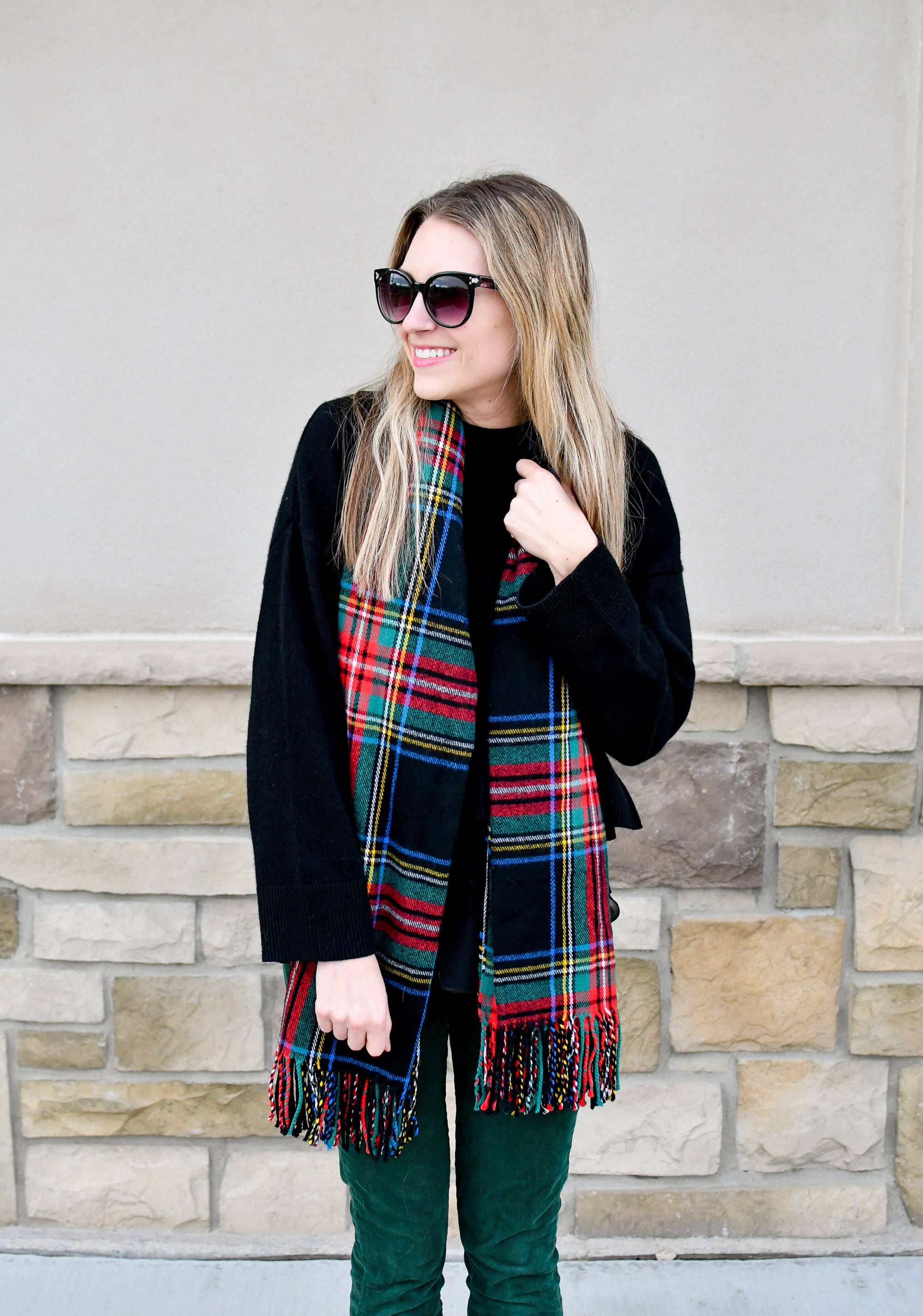 Tartan scarf winter outfit with black cashmere sweater — Cotton Cashmere Cat Hair
