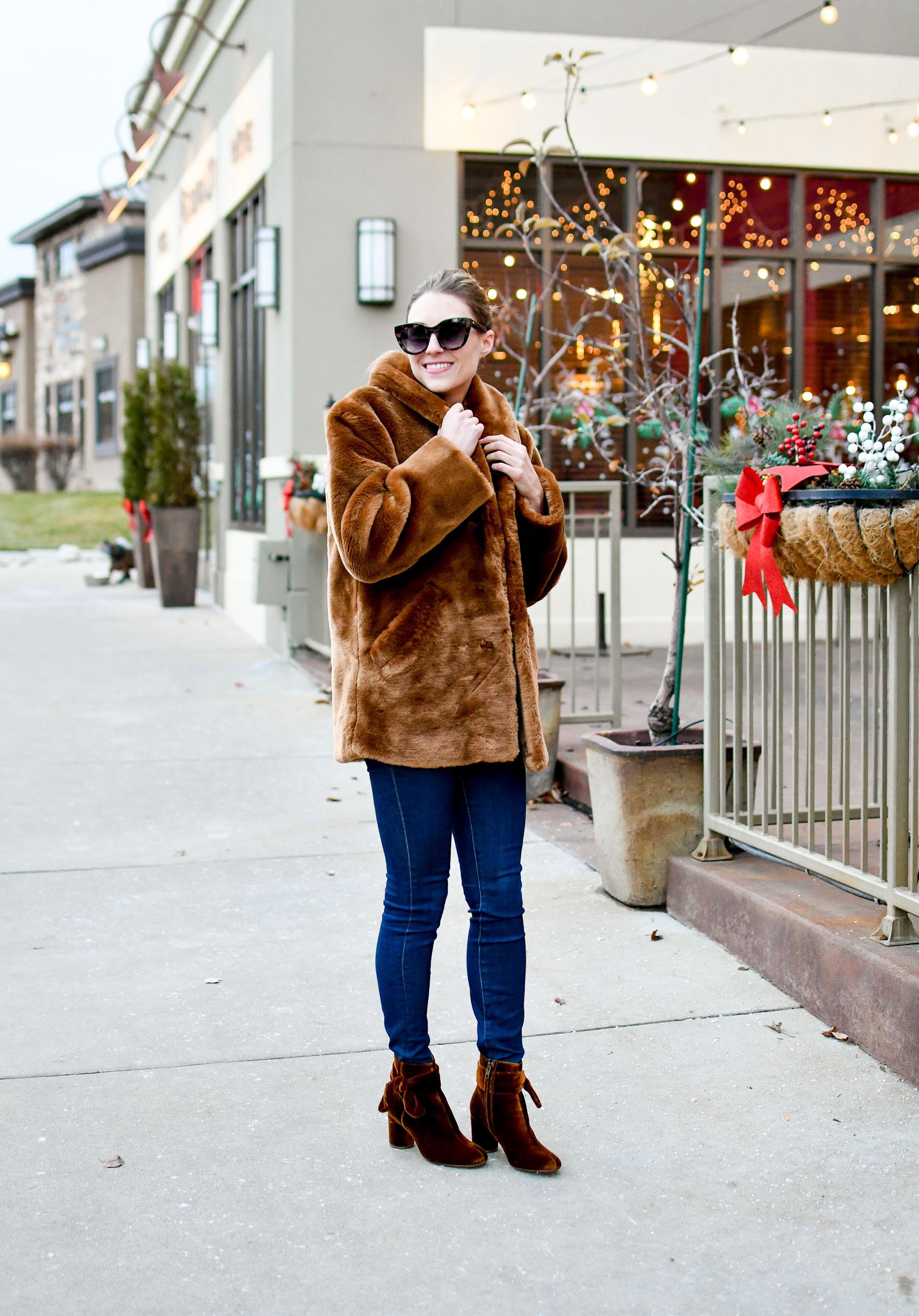 Faux fur coat winter outfit with velvet boots — Cotton Cashmere Cat Hair