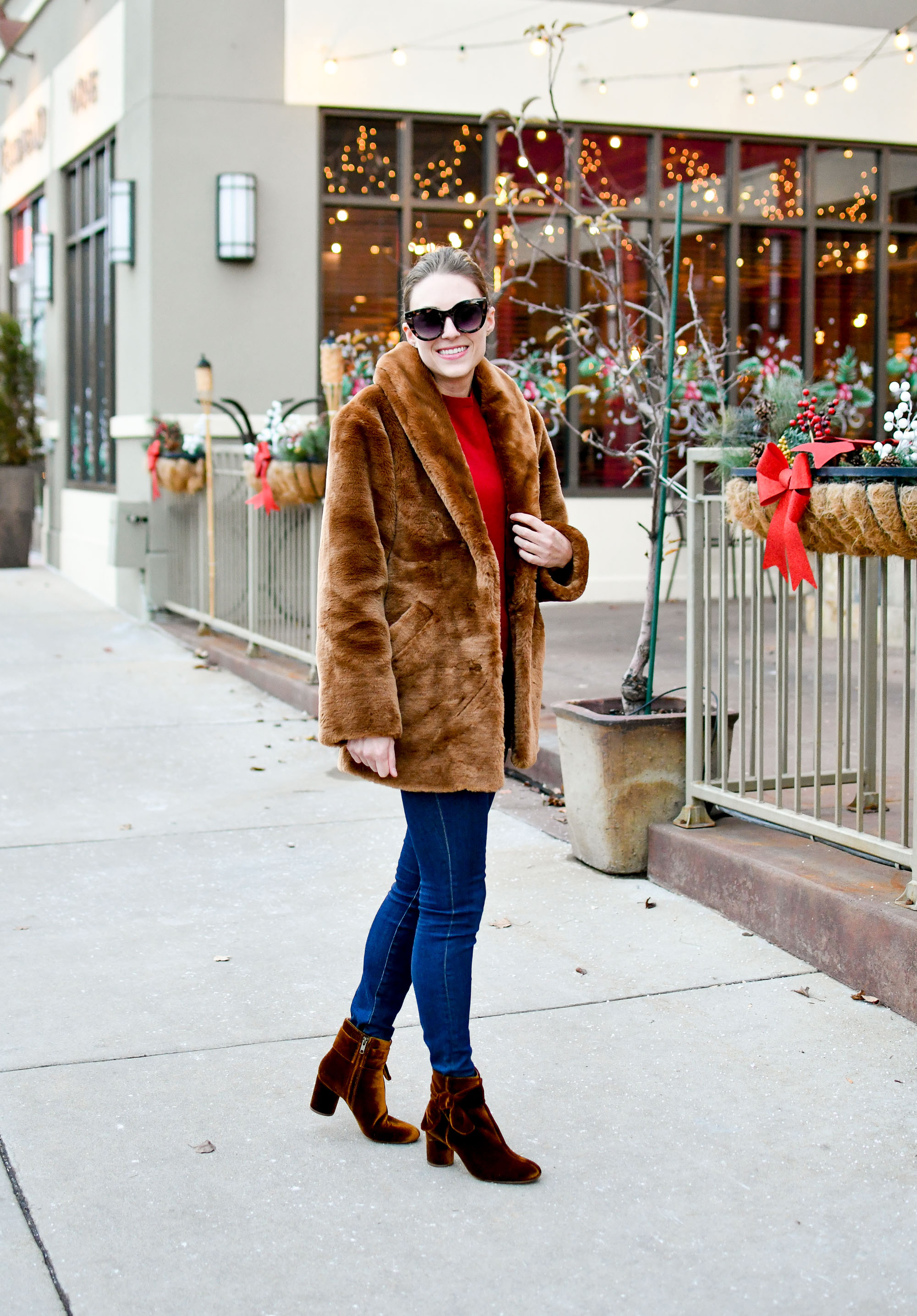 & Other Stories faux fur coat, Madewell Esme bow boots in velvet — Cotton Cashmere Cat Hair