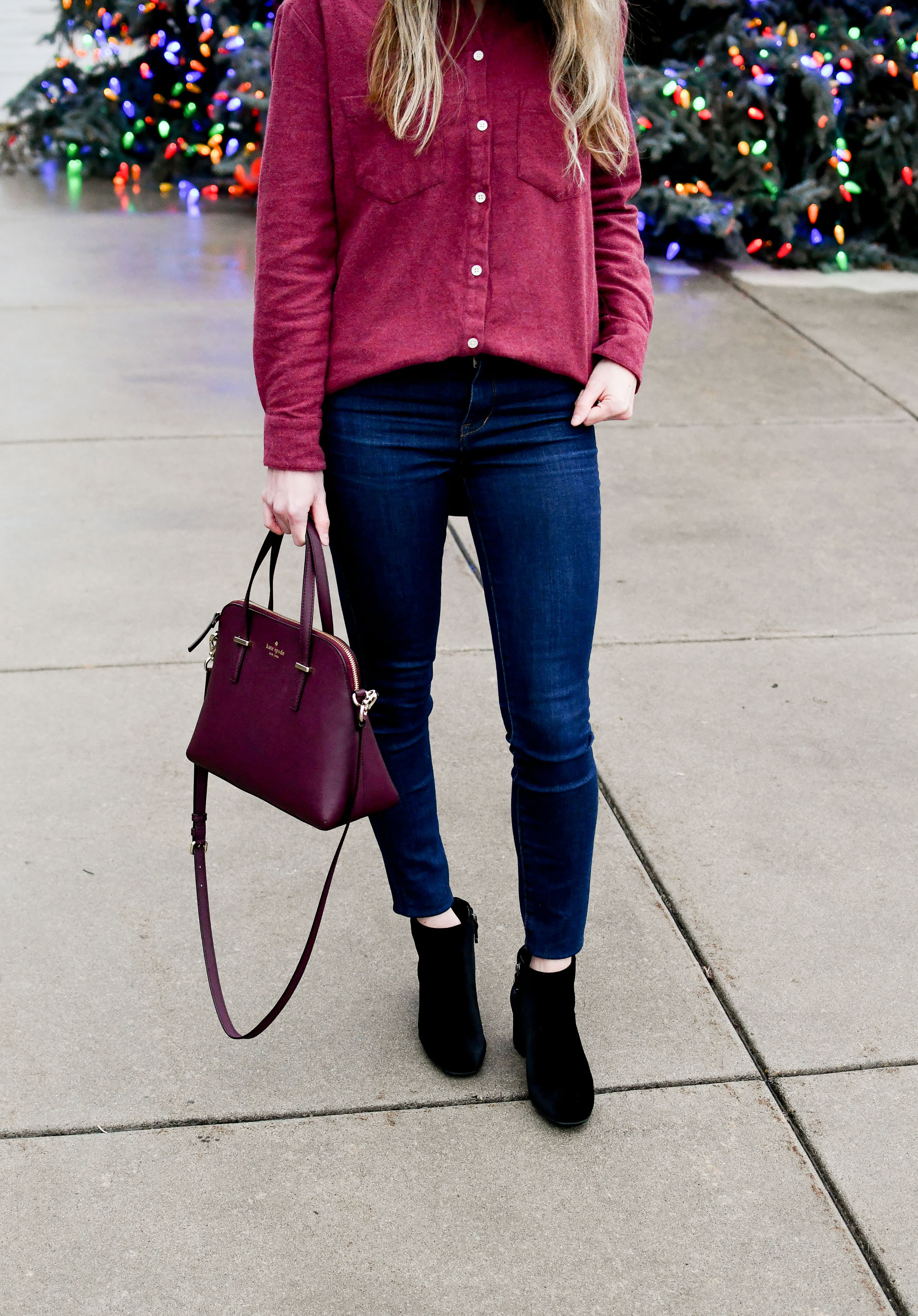 Casual winter outfit with flannel shirt, velvet ankle boots, Kate Spade satchel — Cotton Cashmere Cat Hair