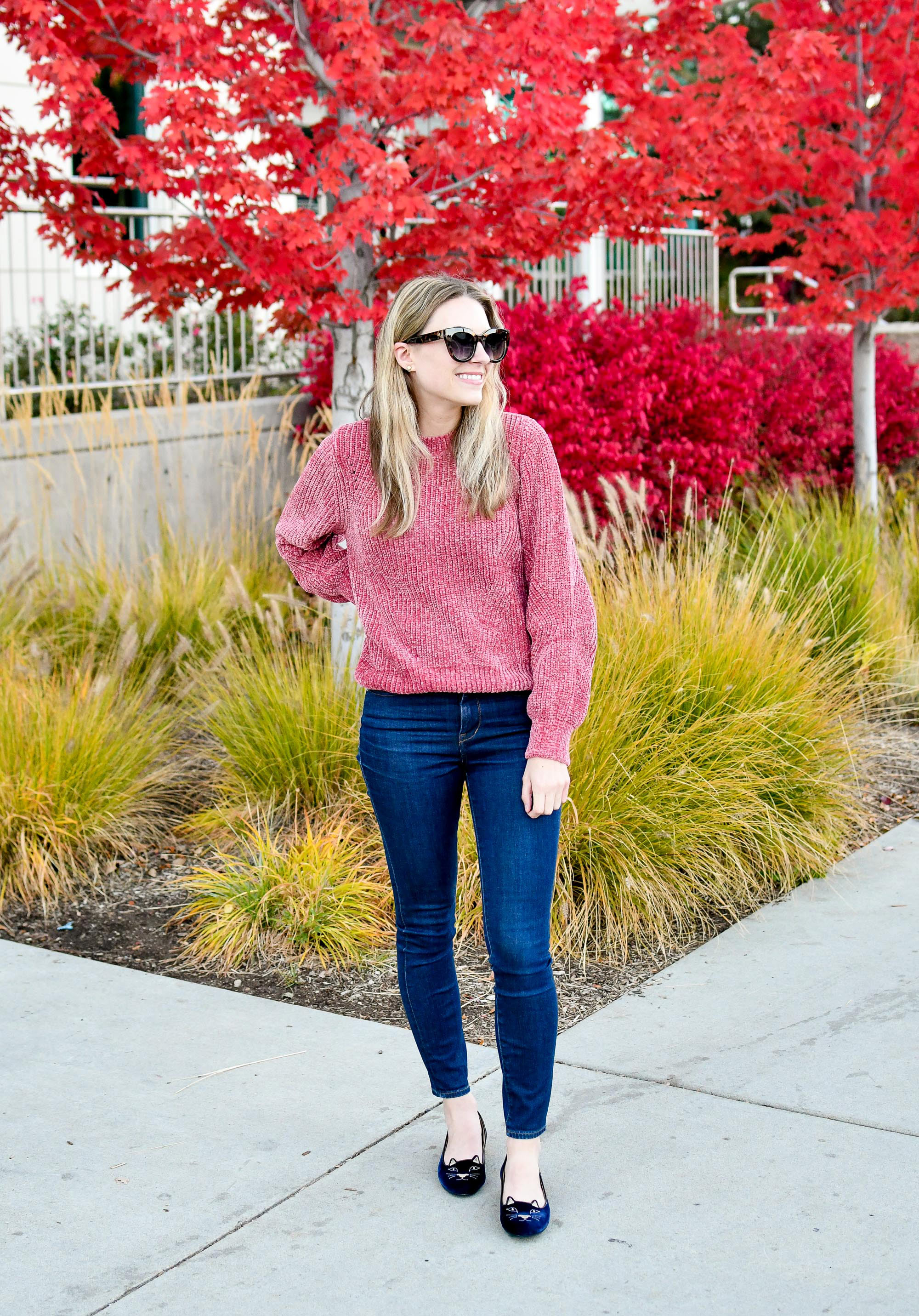 Favorite outfit: Vintage pink chenille — Cotton Cashmere Cat Hair