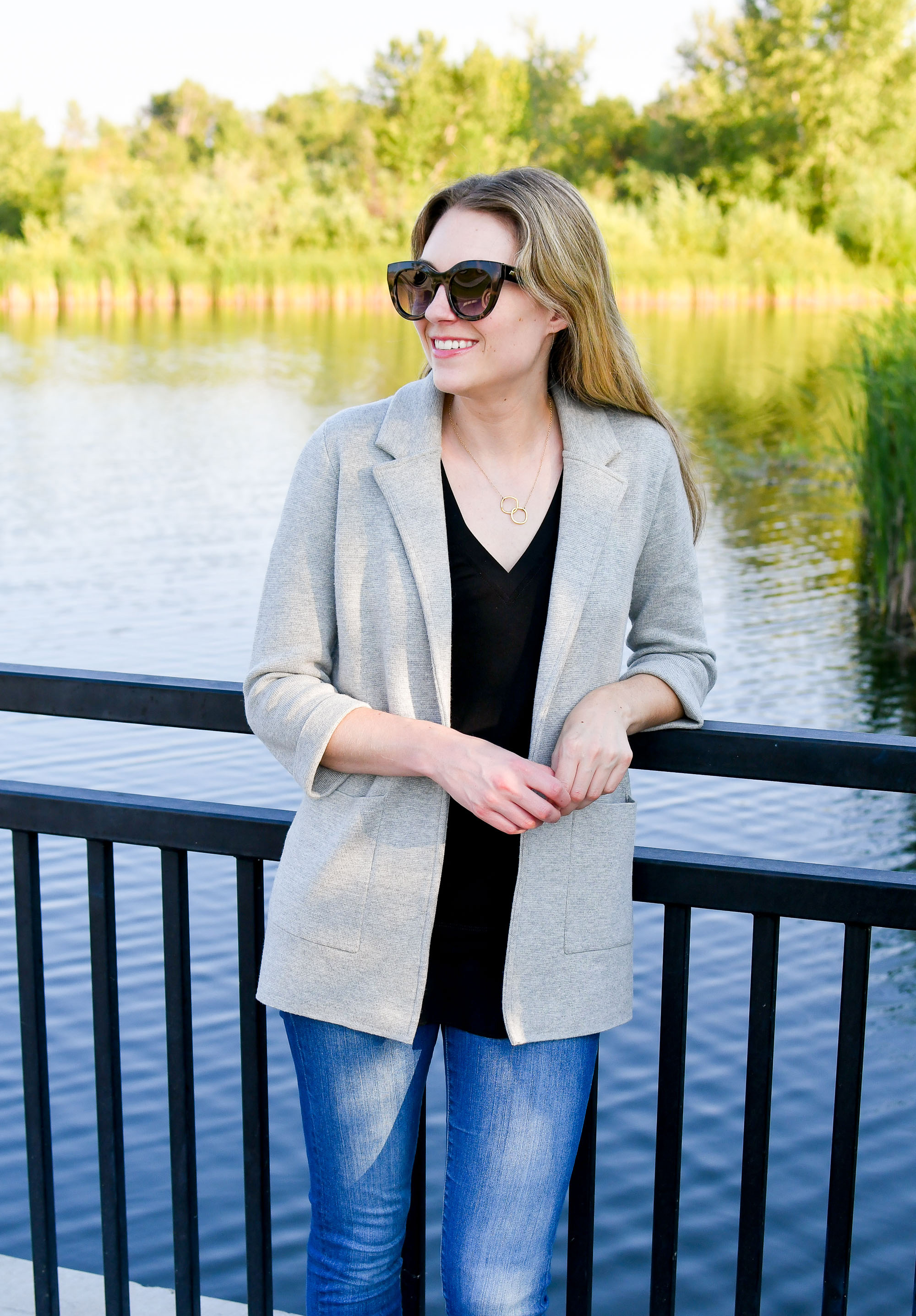 Best purchase: J.Crew Sophie open-front sweater blazer (heather grey) — Cotton Cashmere Cat Hair