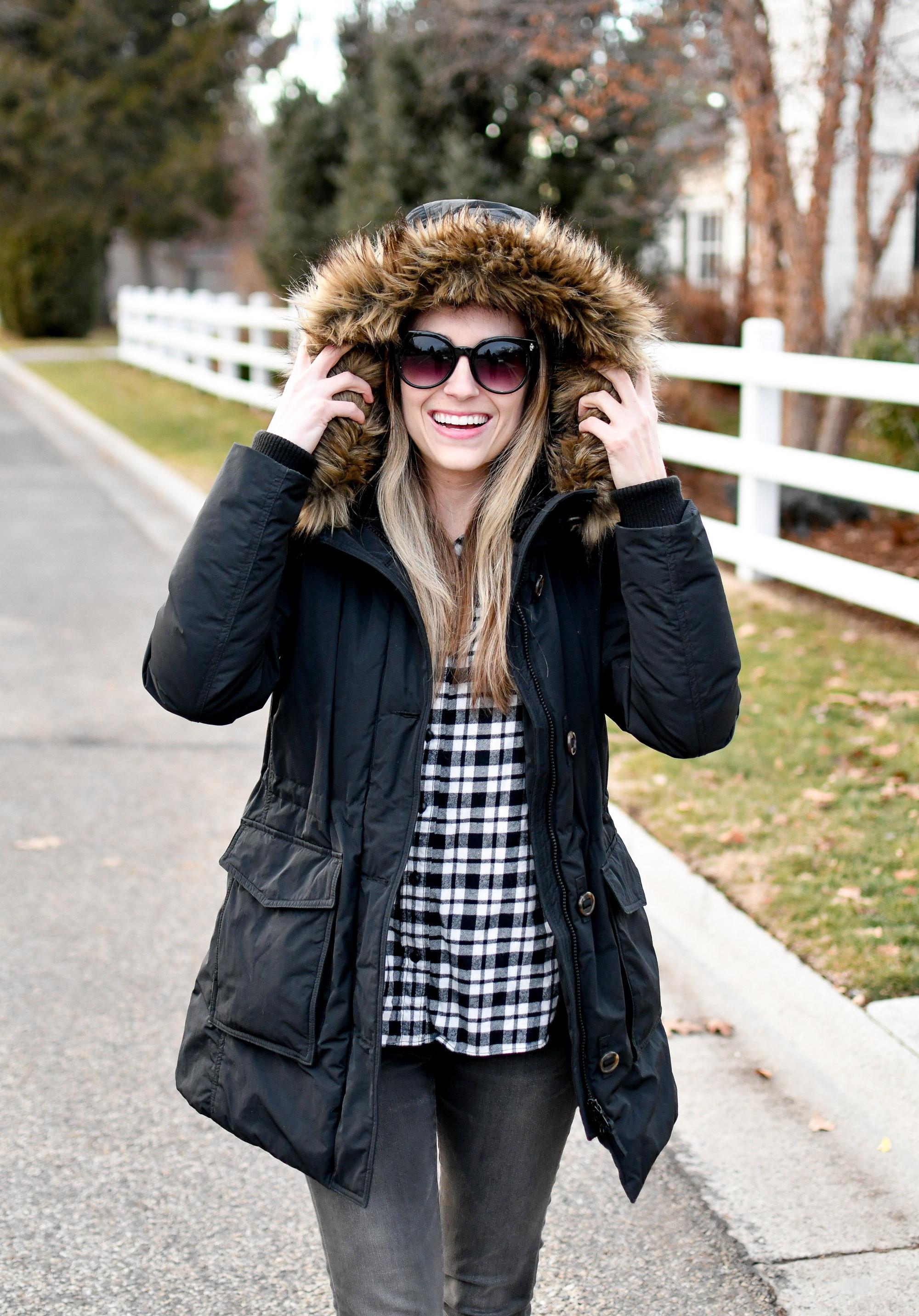 Black parka casual winter outfit — Cotton Cashmere Cat Hair
