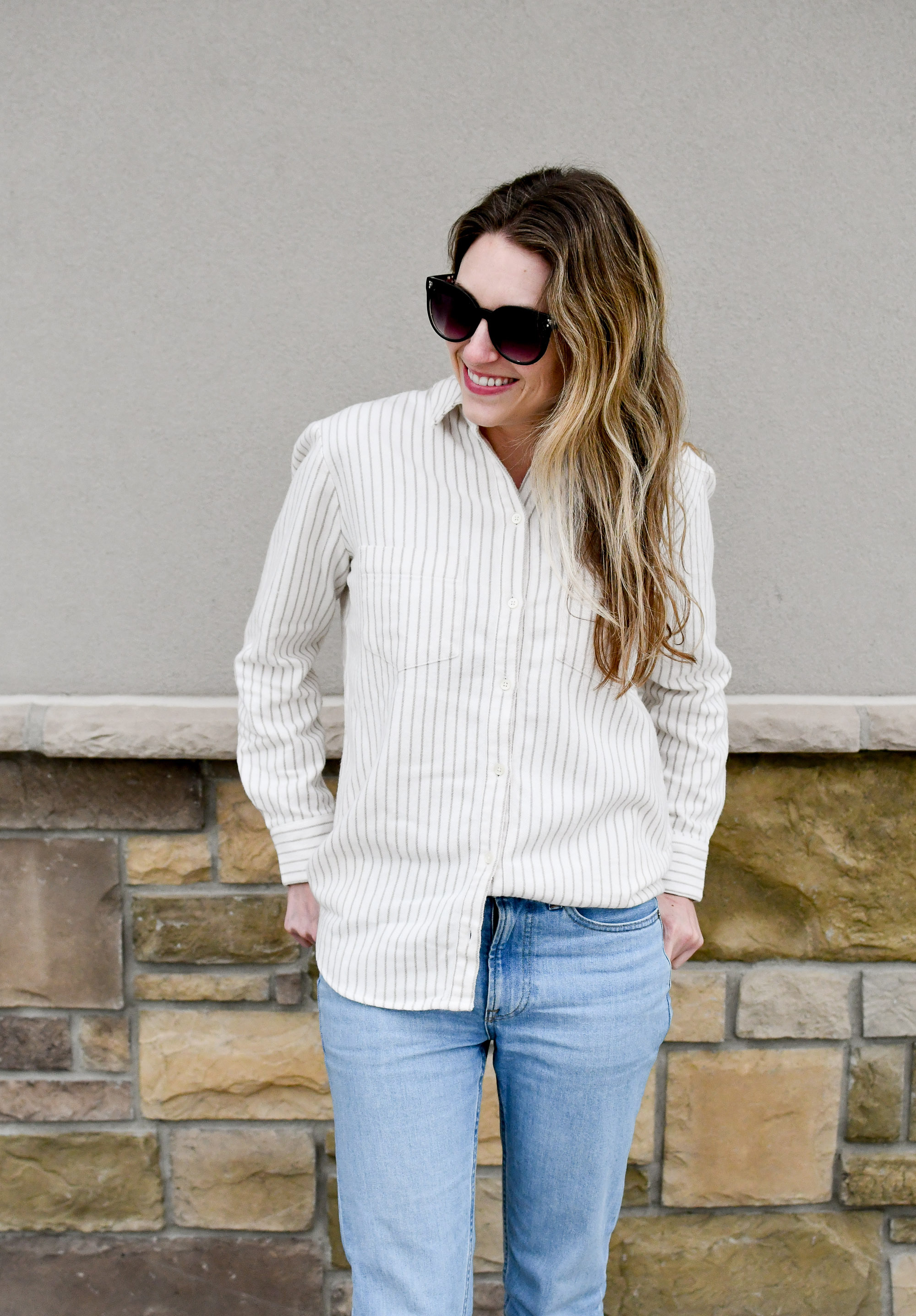 Madewell flannel Sunday shirt winter outfit — Cotton Cashmere Cat Hair