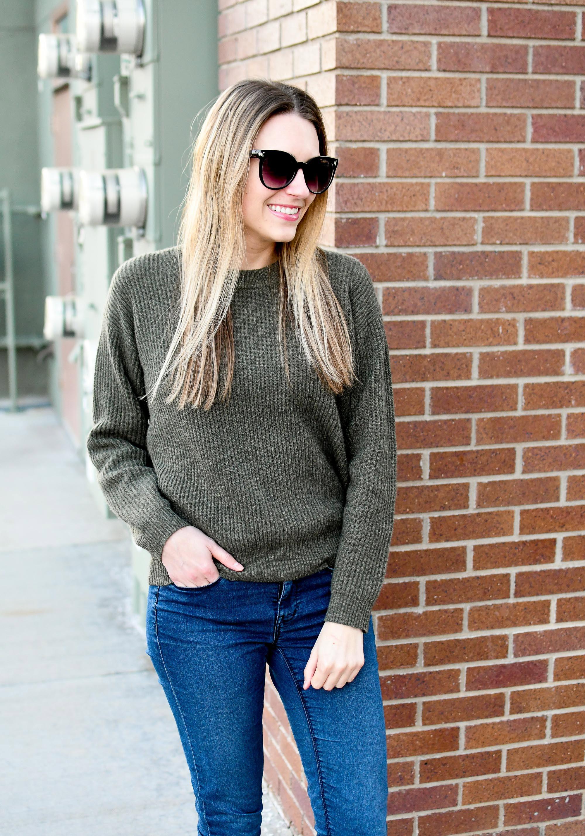 Everlane cashmere rib round crew sweater in loden — Cotton Cashmere Cat Hair