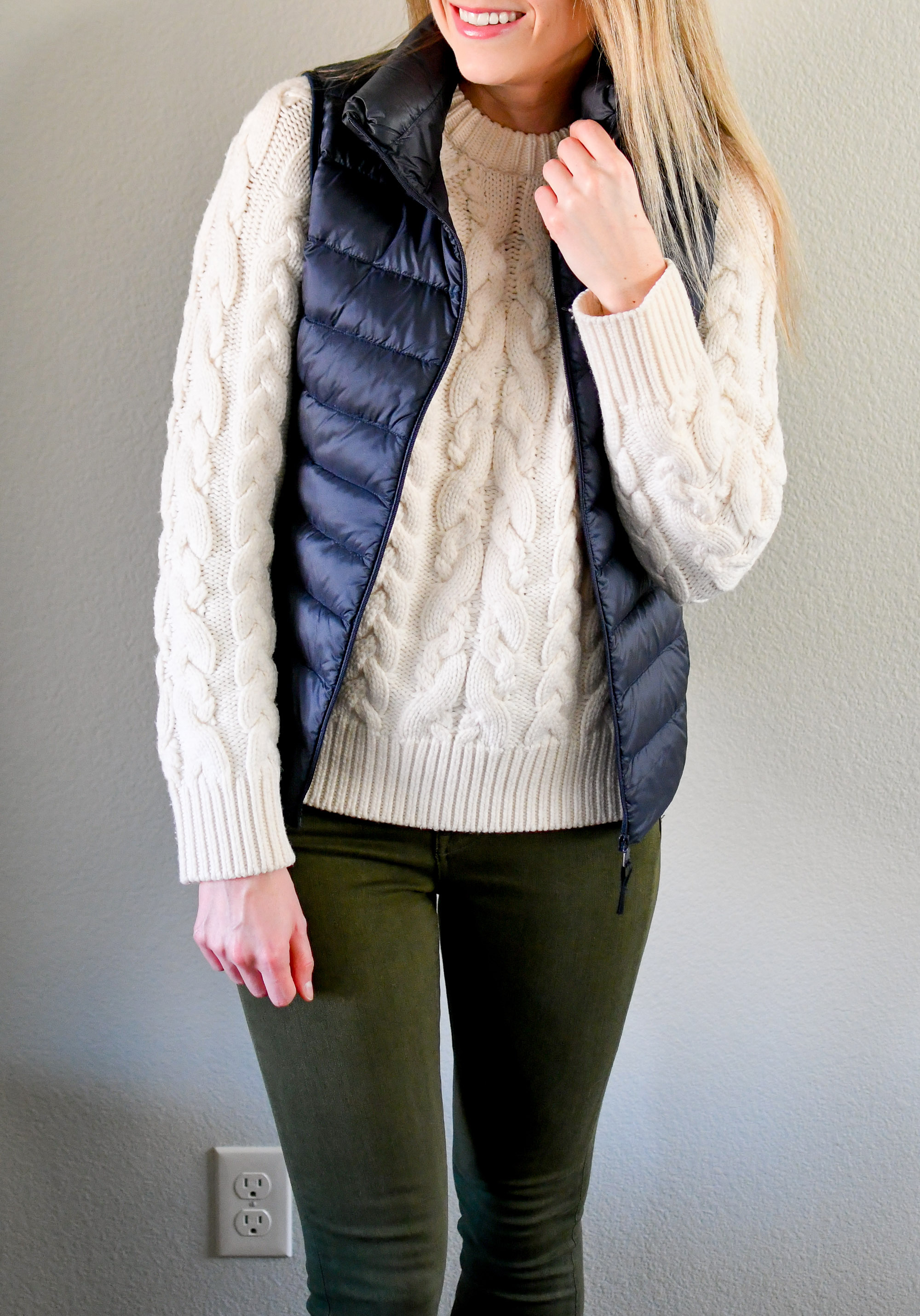 Amour Vert Kendra cable knit sweater + Uniqlo vest — Cotton Cashmere Cat Hair