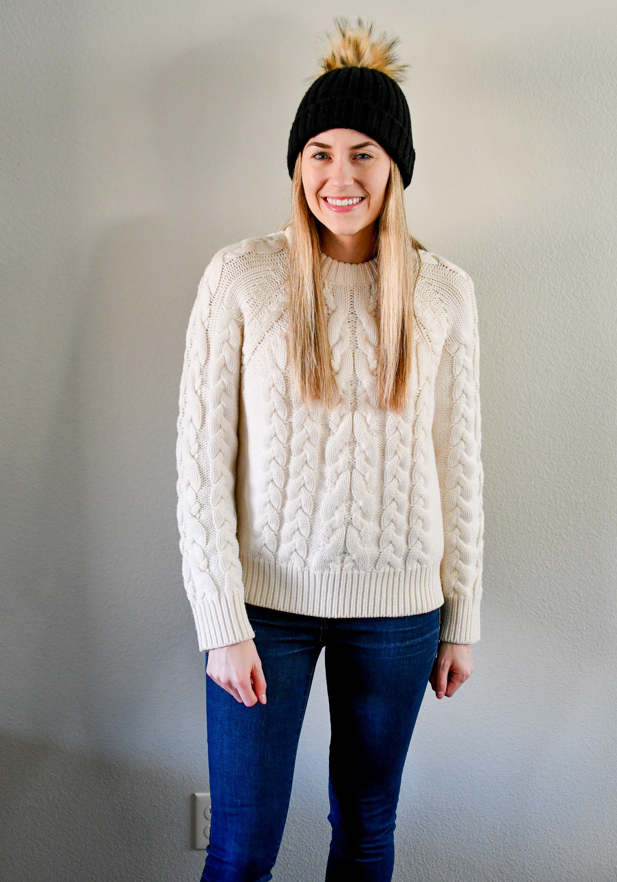 Ivory cable knit sweater outfit with black beanie — Cotton Cashmere Cat Hair