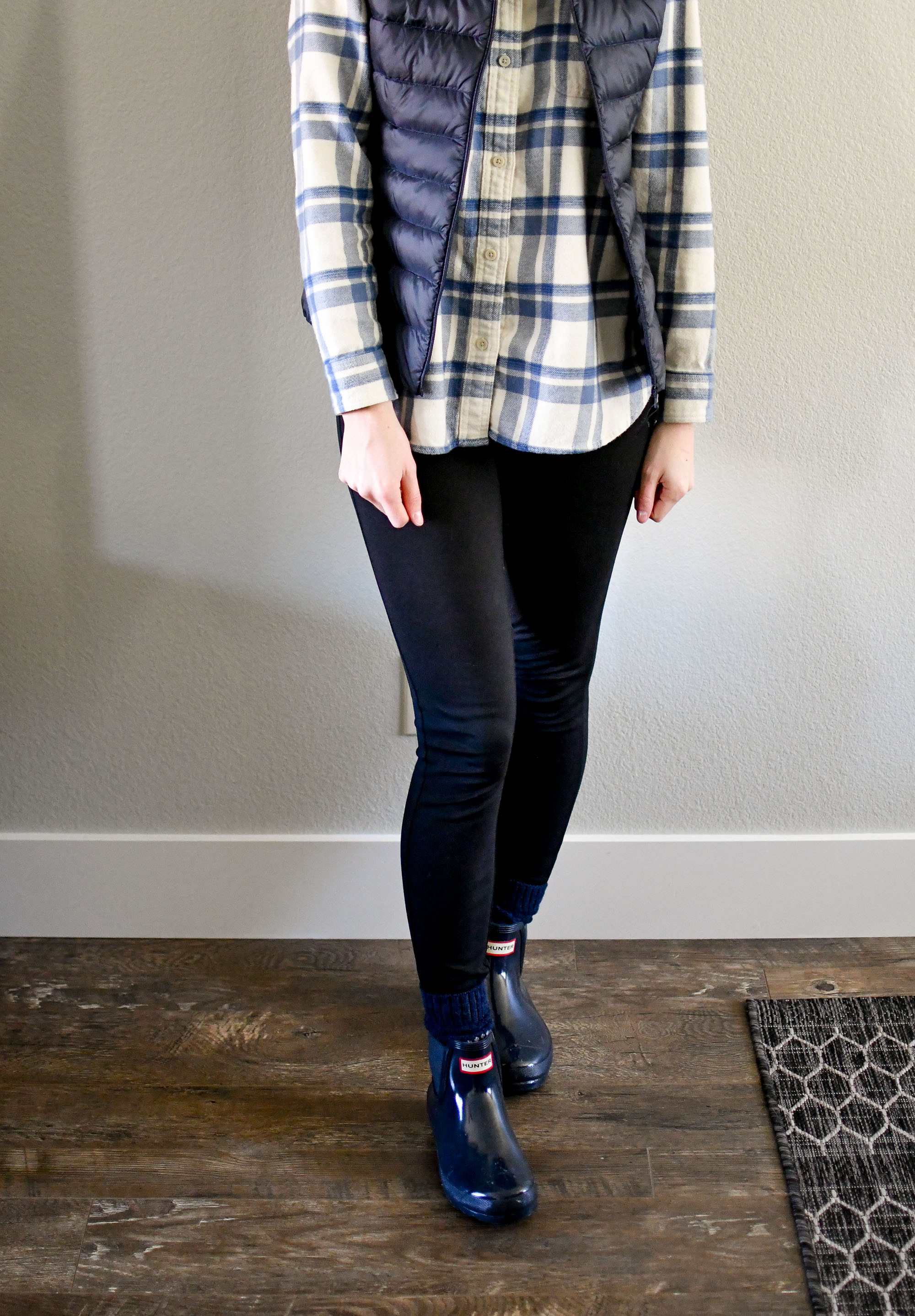 Navy vest, flannel shirt, ponte pants, navy Hunter boots — Cotton Cashmere Cat Hair
