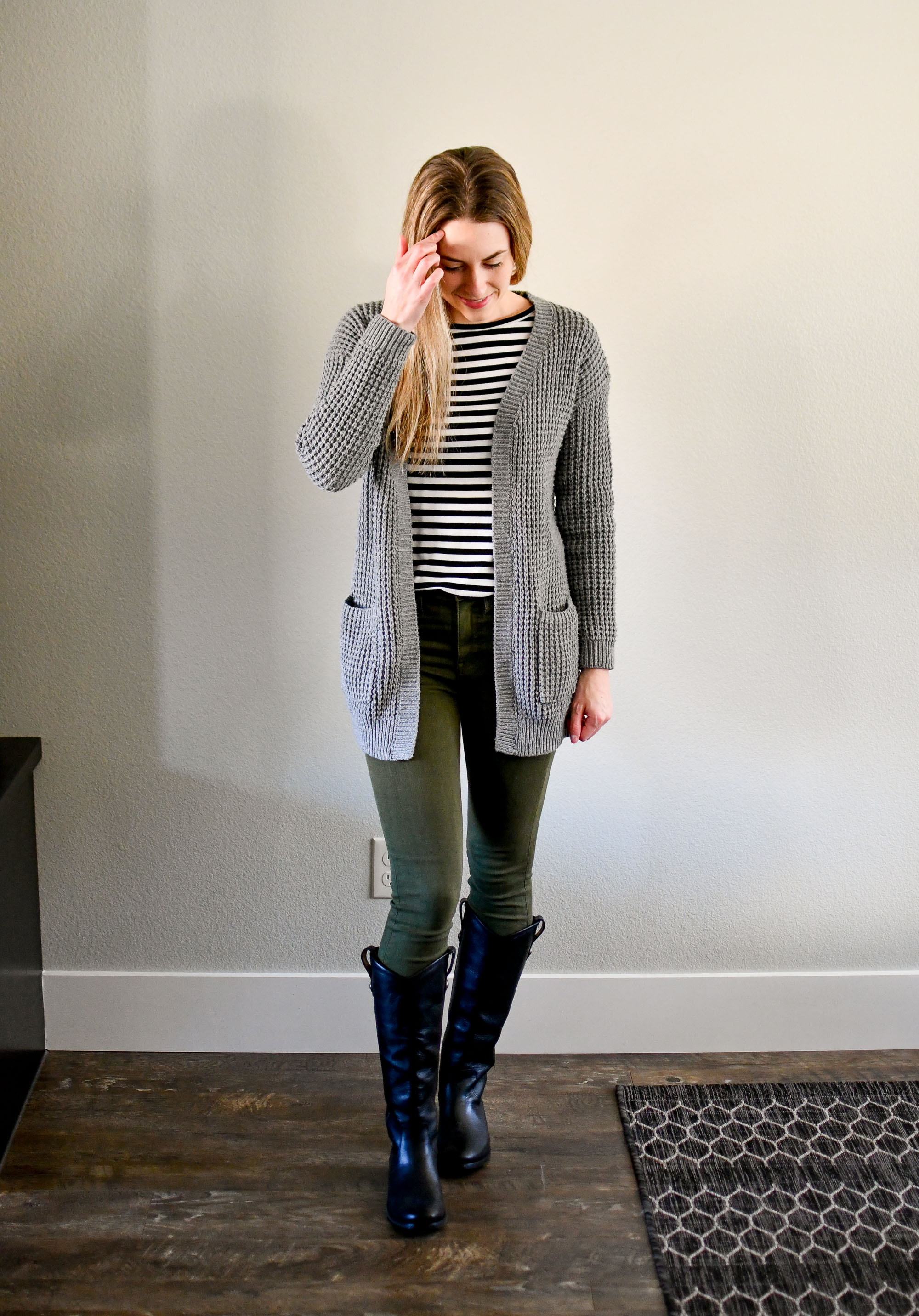 Casual winter outfit with grey cardigan, striped tee, olive green jeans, Frye boots — Cotton Cashmere Cat Hair