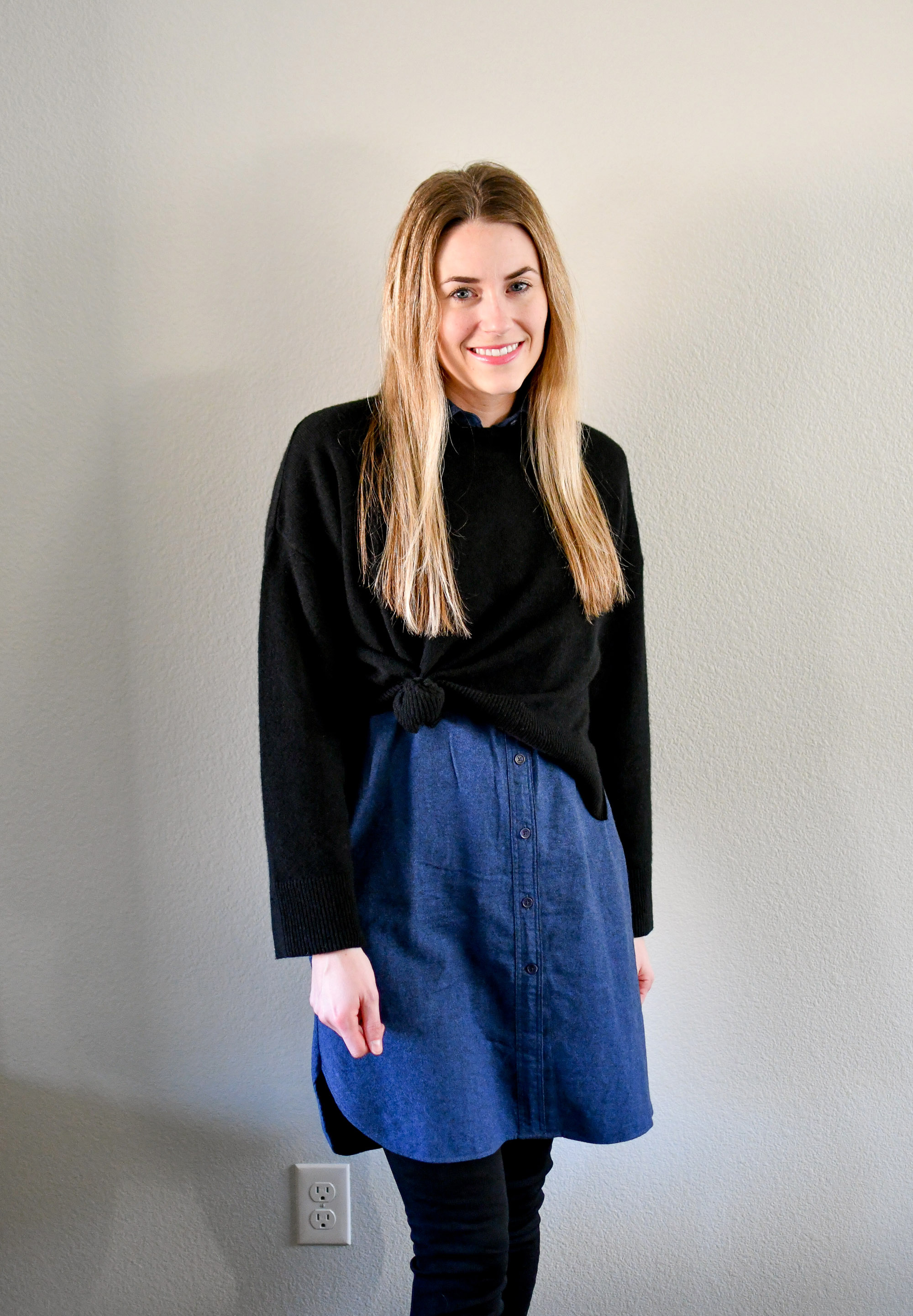 Cropped sweater winter outfit over shirt dress — Cotton Cashmere Cat Hair