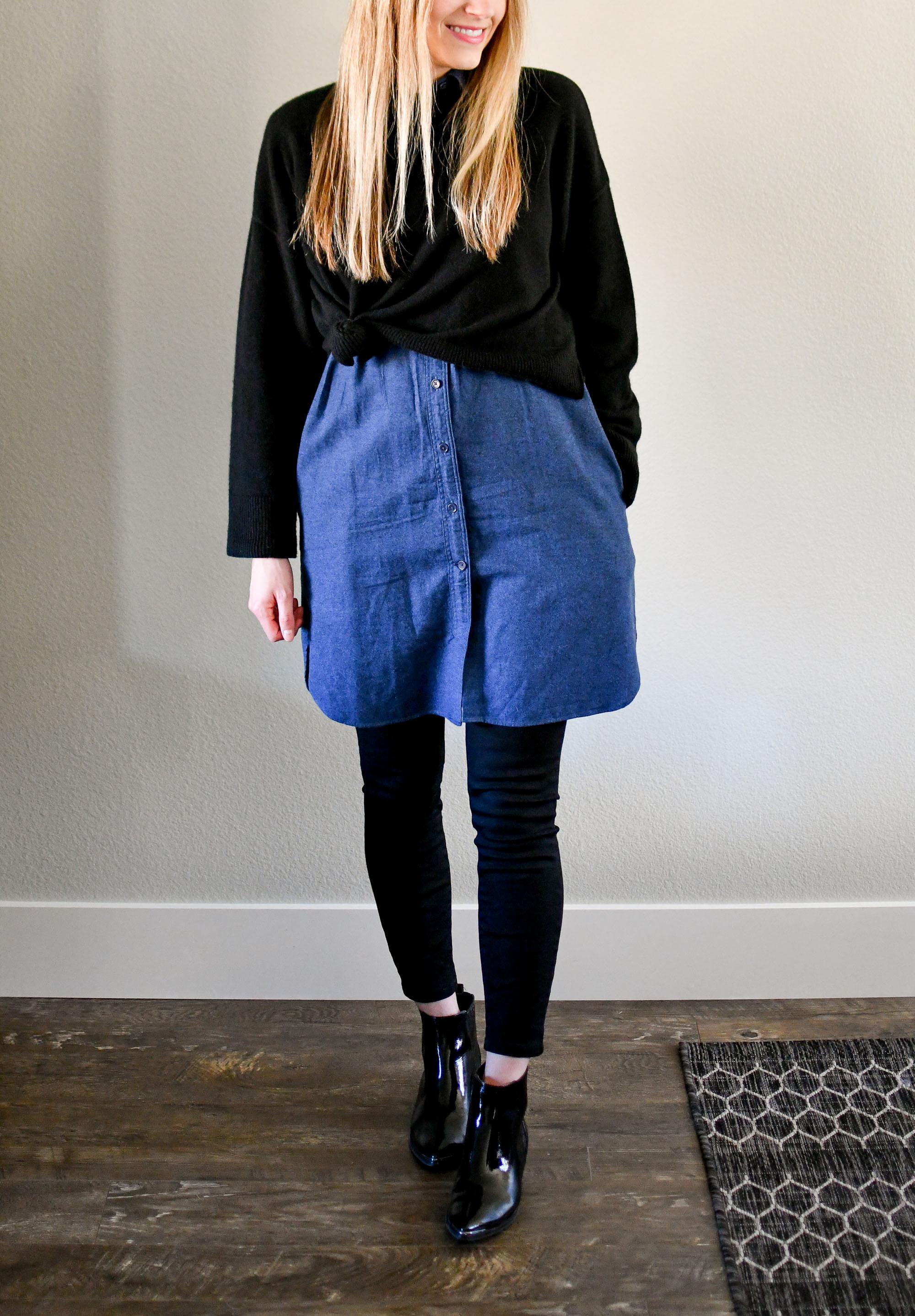 Winter layers: cropped sweater, flannel shirt dress, black denim — Cotton Cashmere Cat Hair