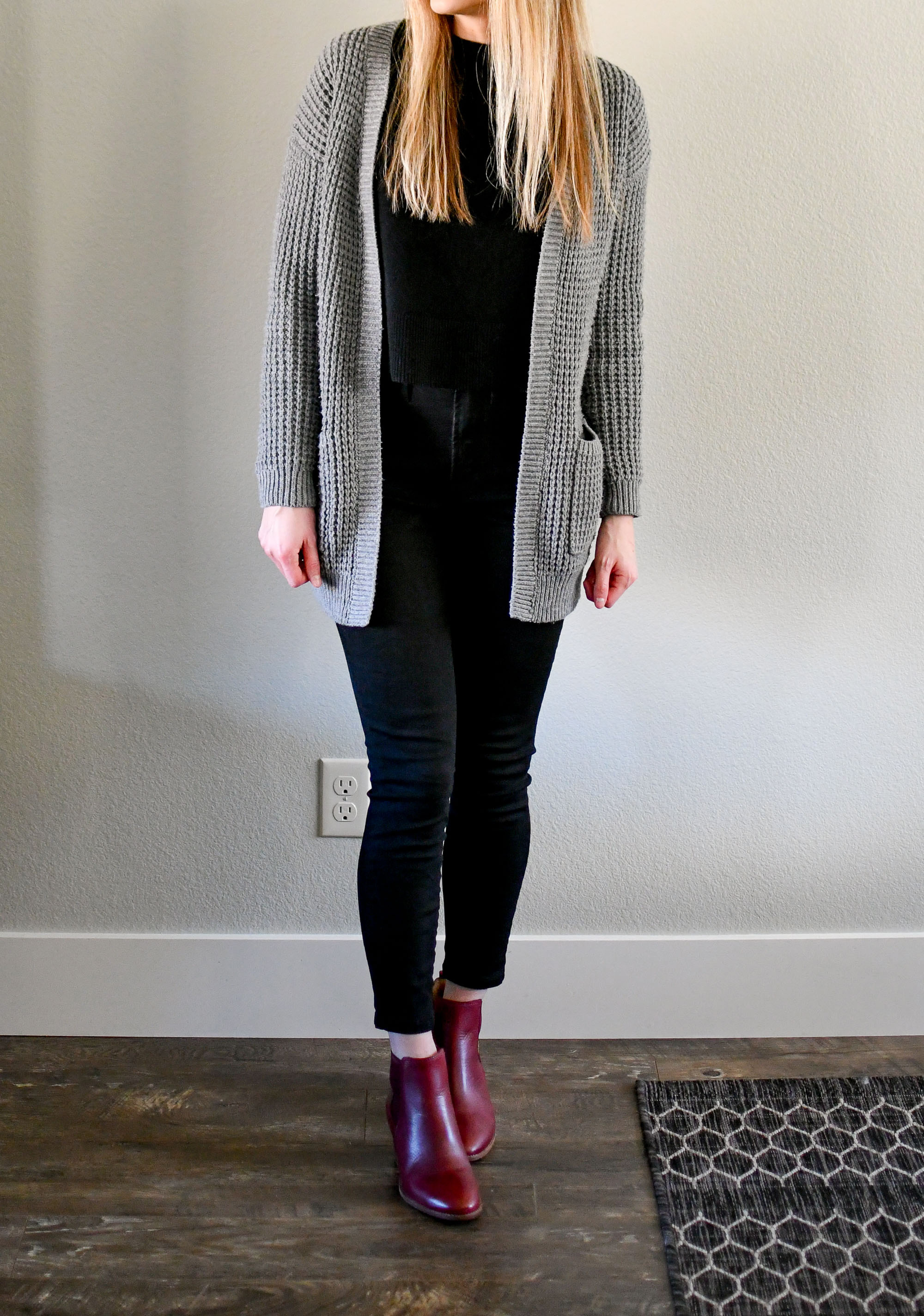 Grey cardigan, black sweater, black denim, red ankle boots — Cotton Cashmere Cat Hair