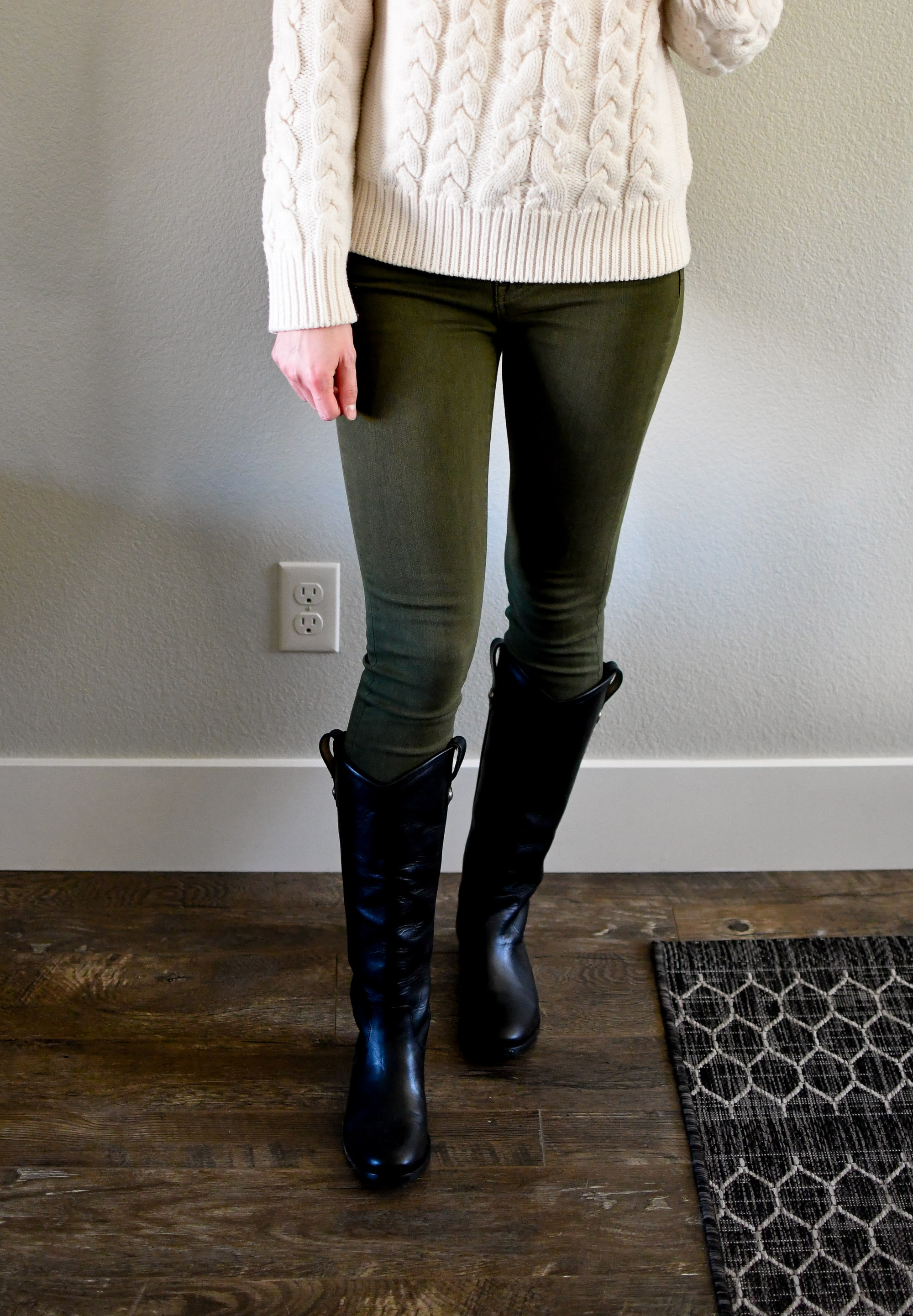 Ivory sweater, olive skinny jeans, black Frye Melissa Button boots — Cotton Cashmere Cat Hair