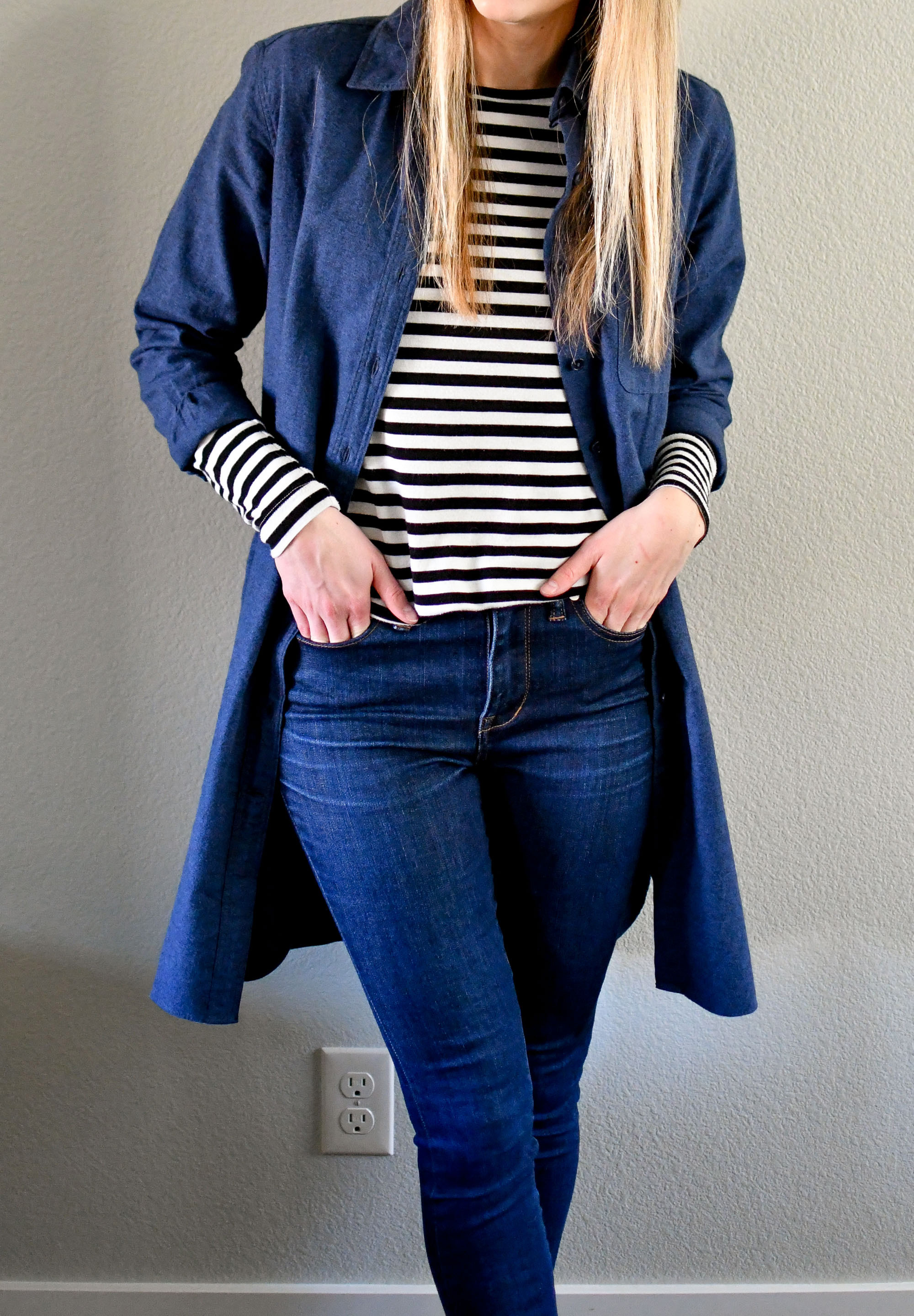 Winter outfit with dress as duster and striped tee — Cotton Cashmere Cat Hair