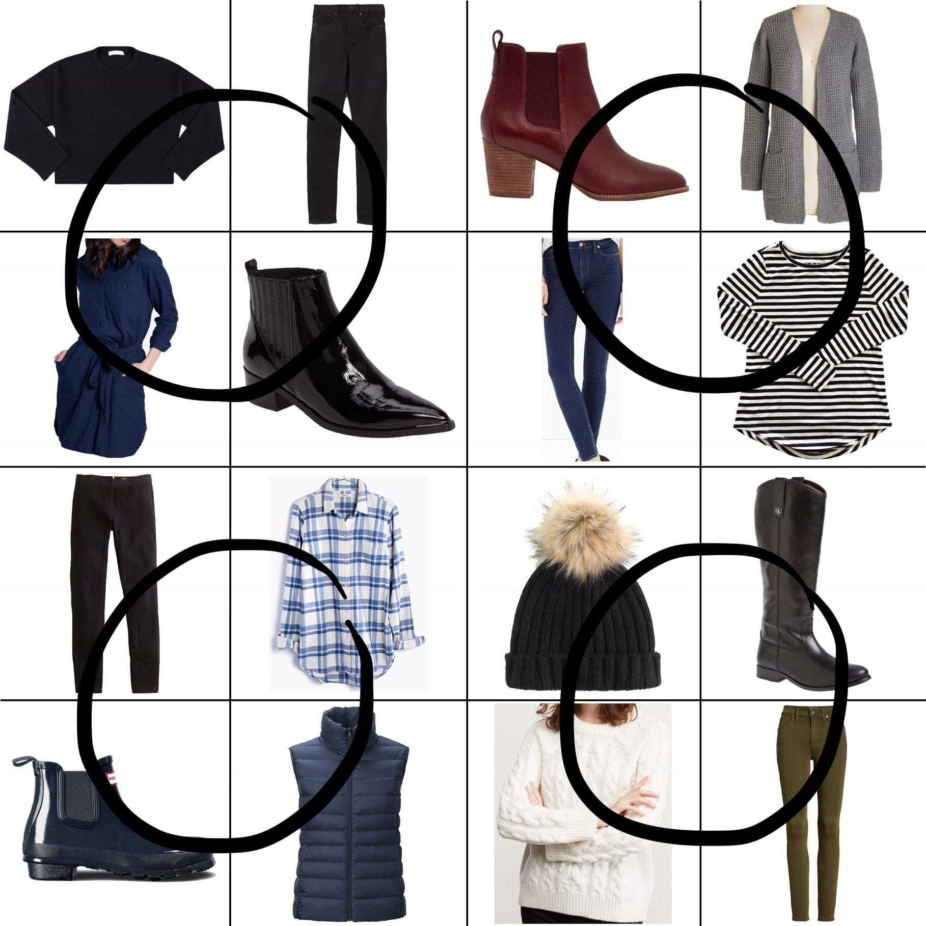 January Style Sudoku: 4 corner outfits — Cotton Cashmere Cat Hair