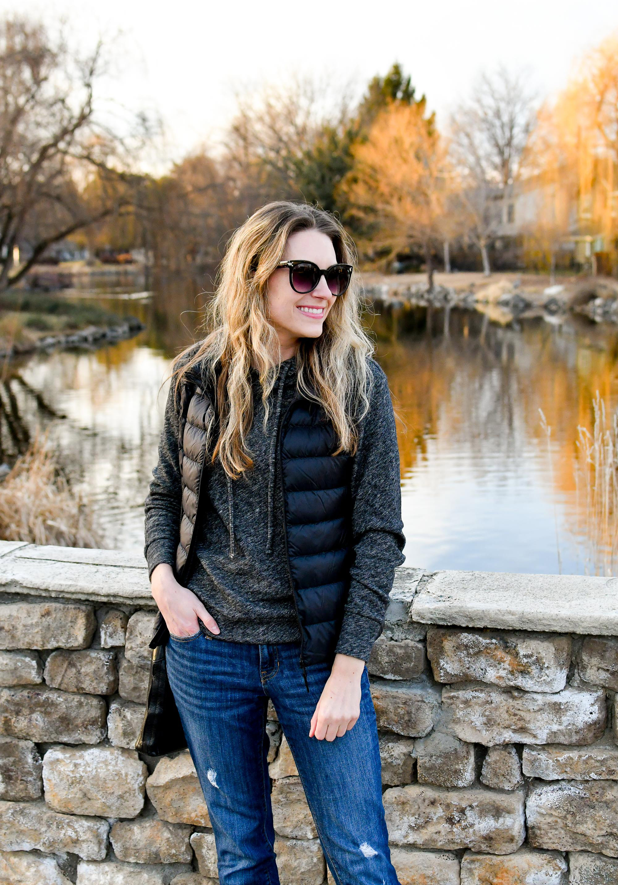 Casual outfit with Uniqlo ultra light down vest — Cotton Cashmere Cat Hair