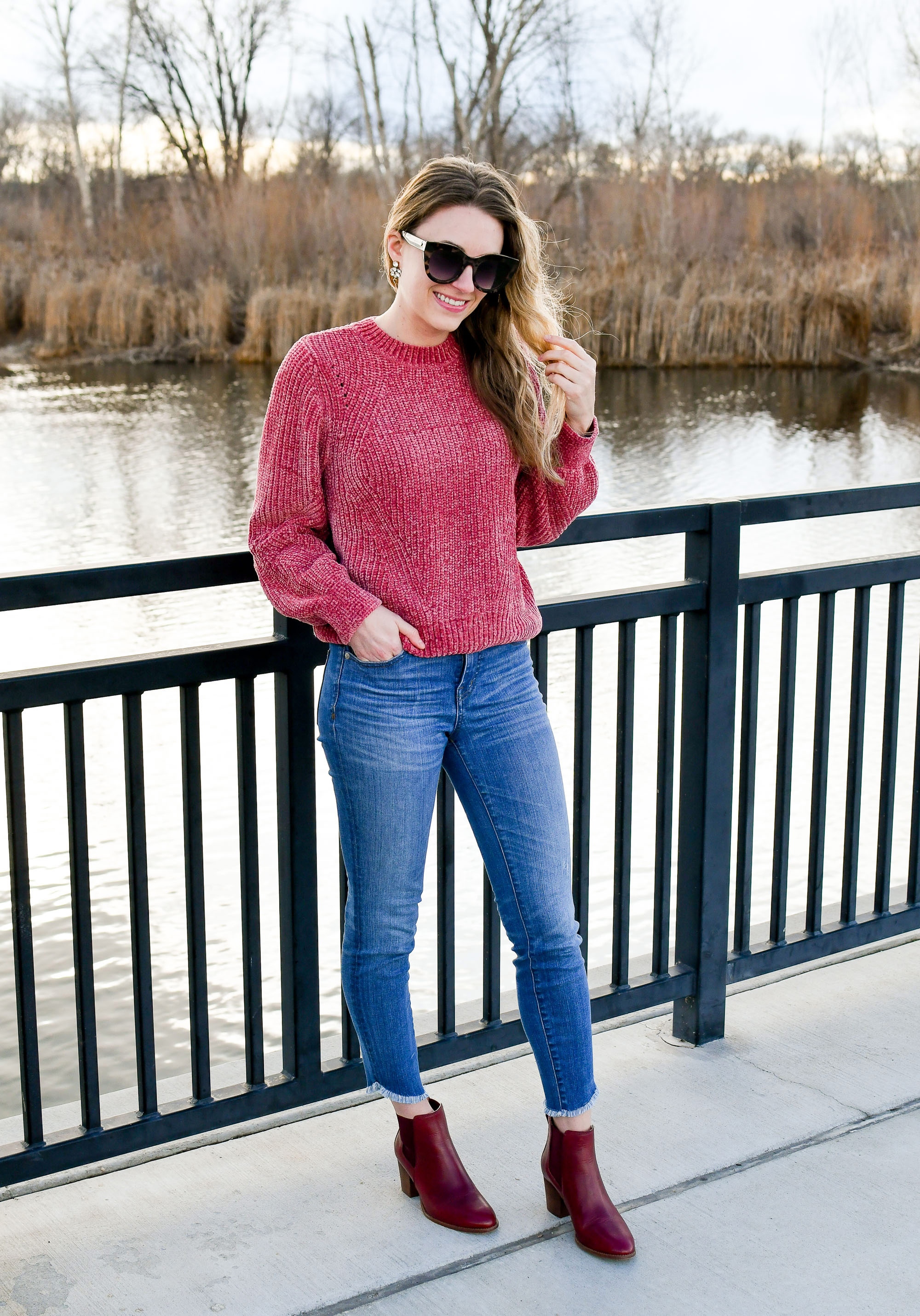 Pink chenille sweater Valentine's Day outfit with red ankle boots — Cotton Cashmere Cat Hair