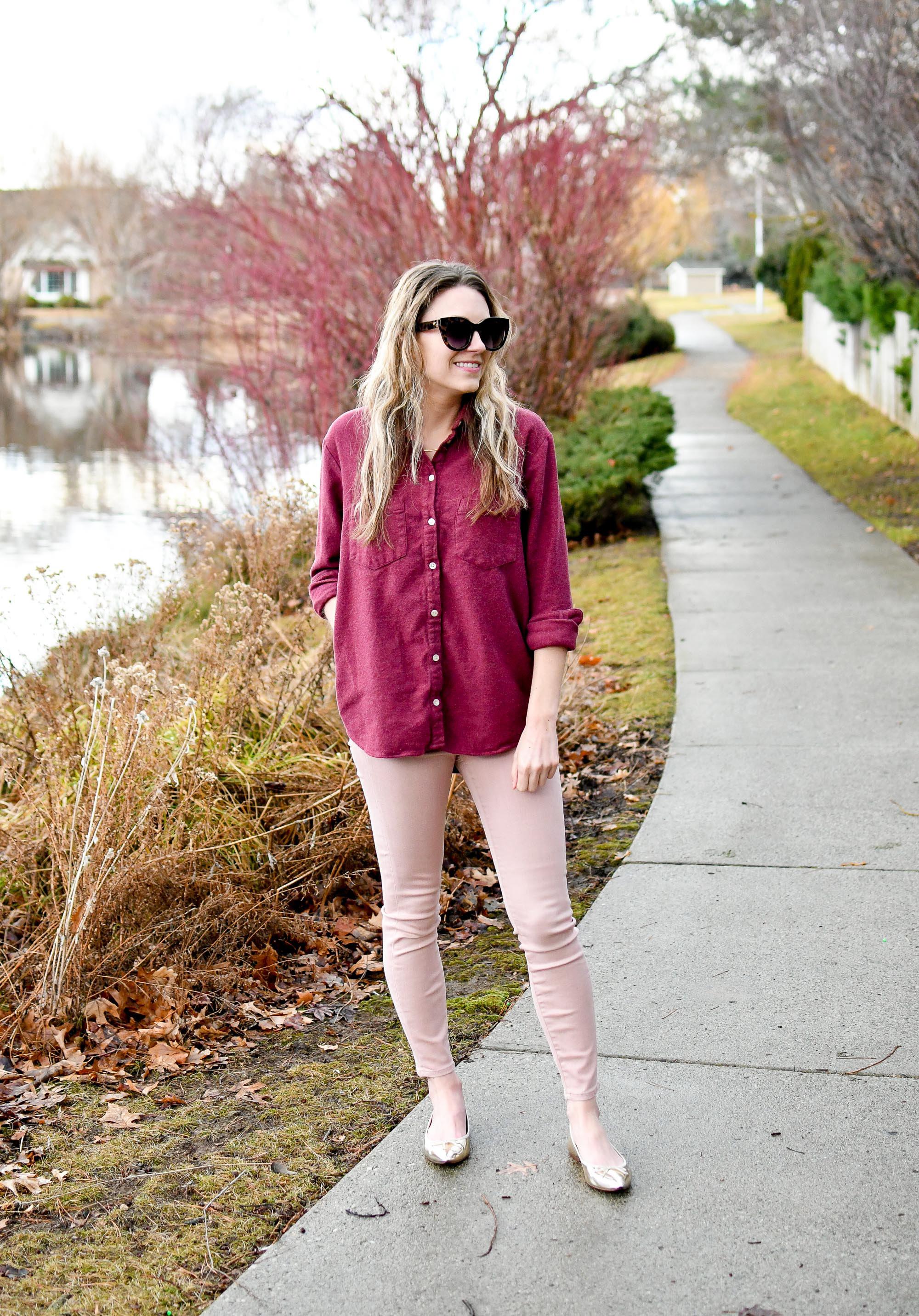 Burgundy flannel shirt, light pink skinny jeans, gold flats — Cotton Cashmere Cat Hair