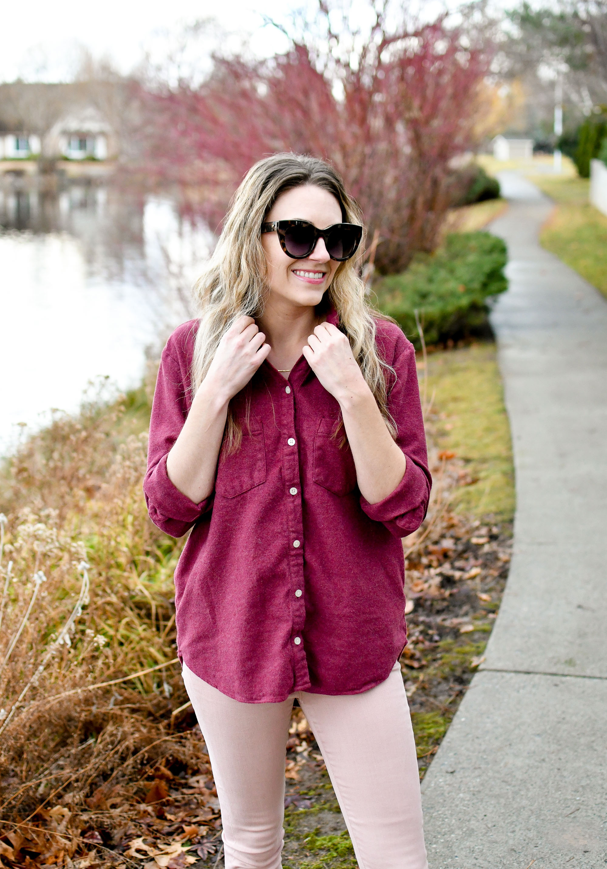 Madewell flannel Sunday shirt casual winter outfit with Gorjana Taner bar necklace — Cotton Cashmere Cat Hair