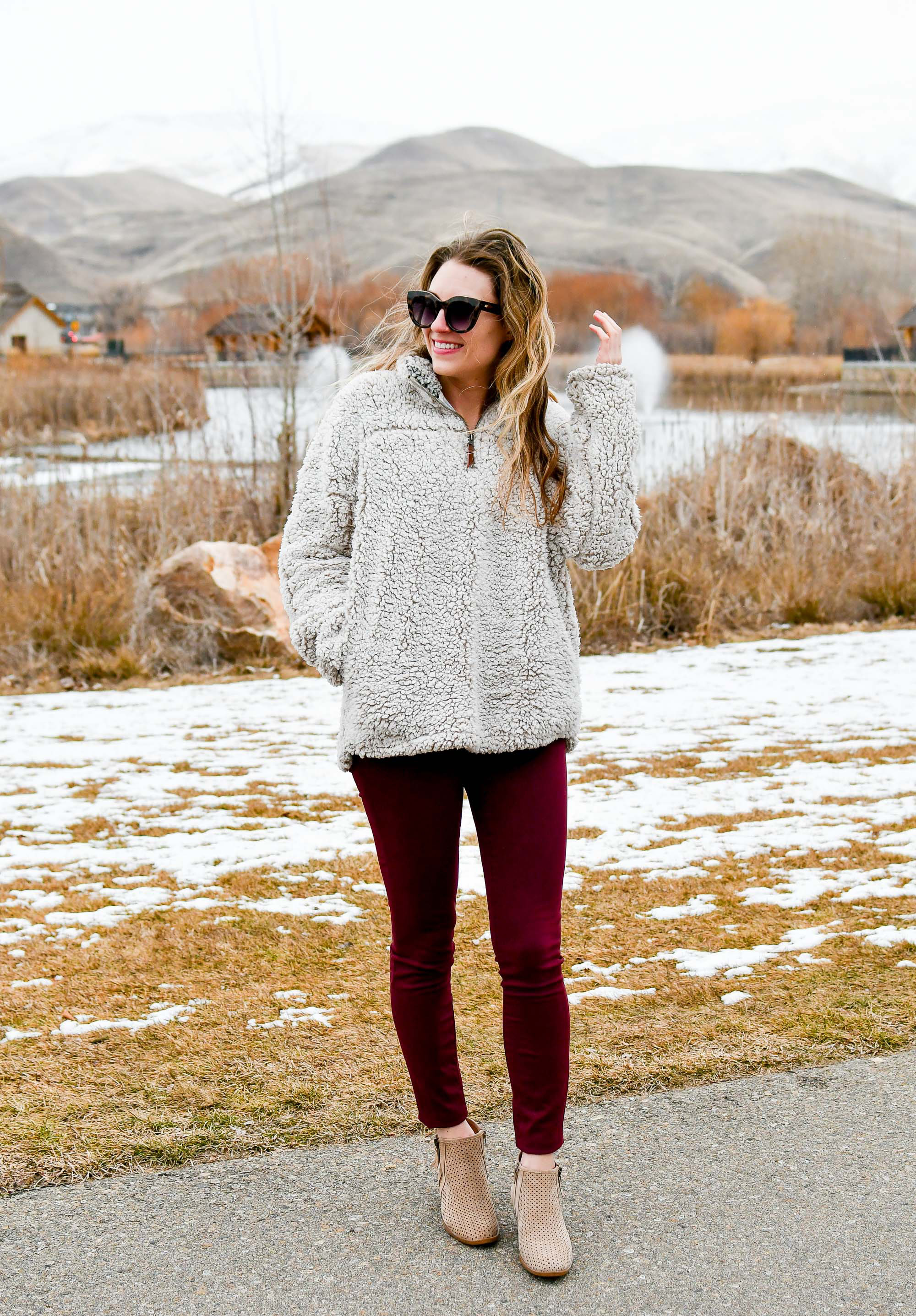 Winter outfit with nubby pullover, burgundy pants, tan ankle boots — Cotton Cashmere Cat Hair