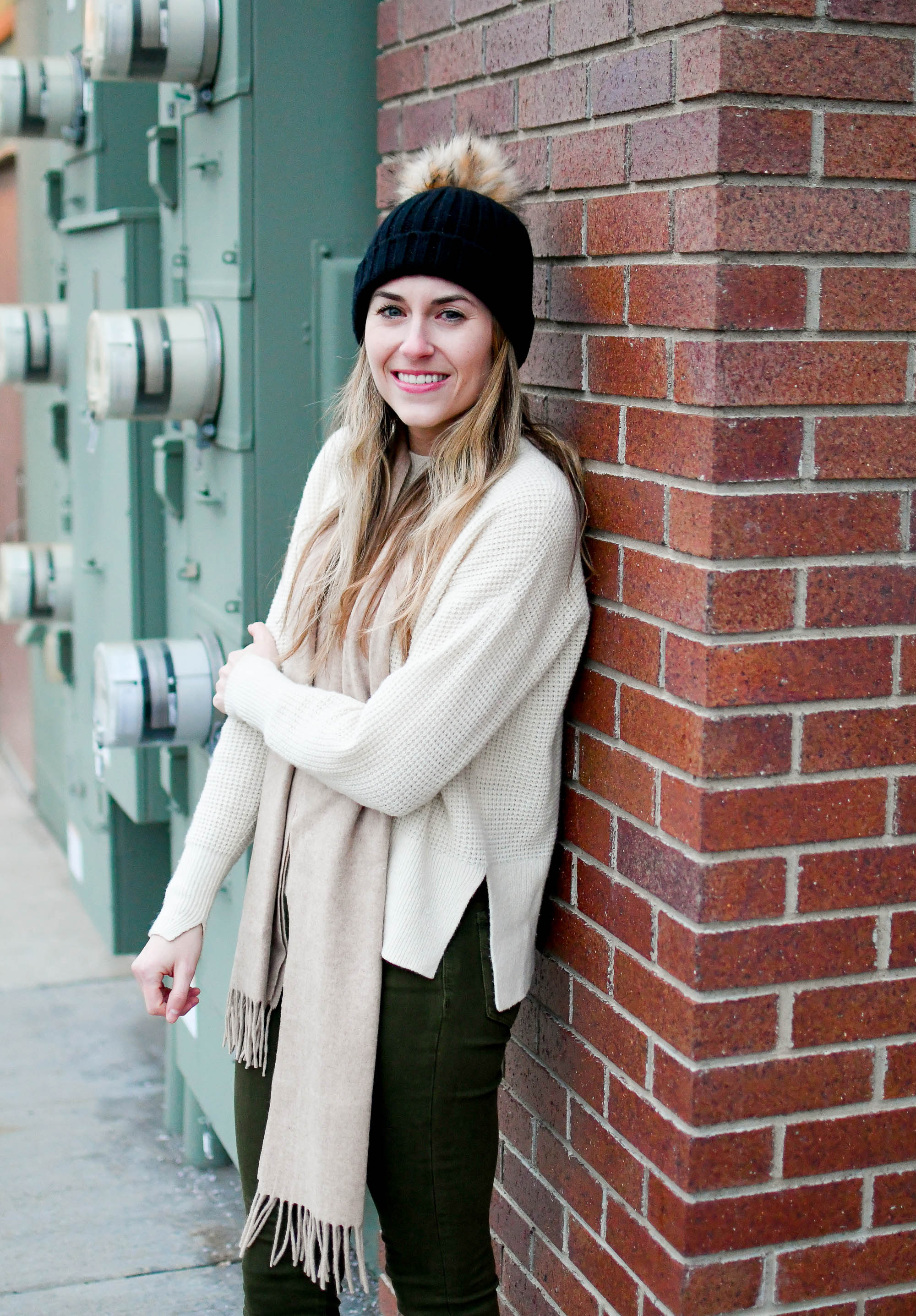 J.Crew pom-pom beanie and cashmere scarf winter outfit — Cotton Cashmere Cat Hair