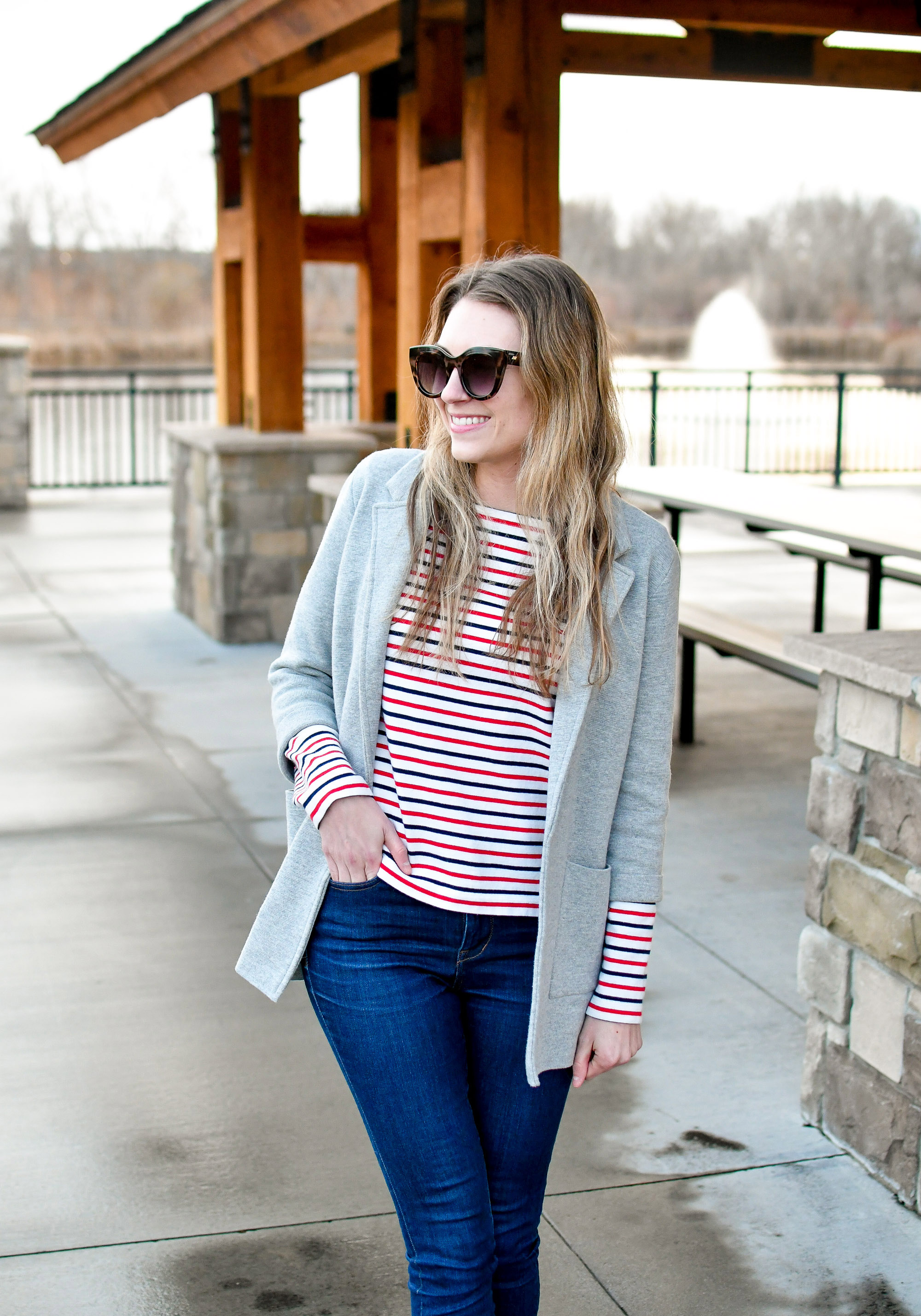 Heather grey sweater blazer outfit with red navy striped tee — Cotton Cashmere Cat Hair