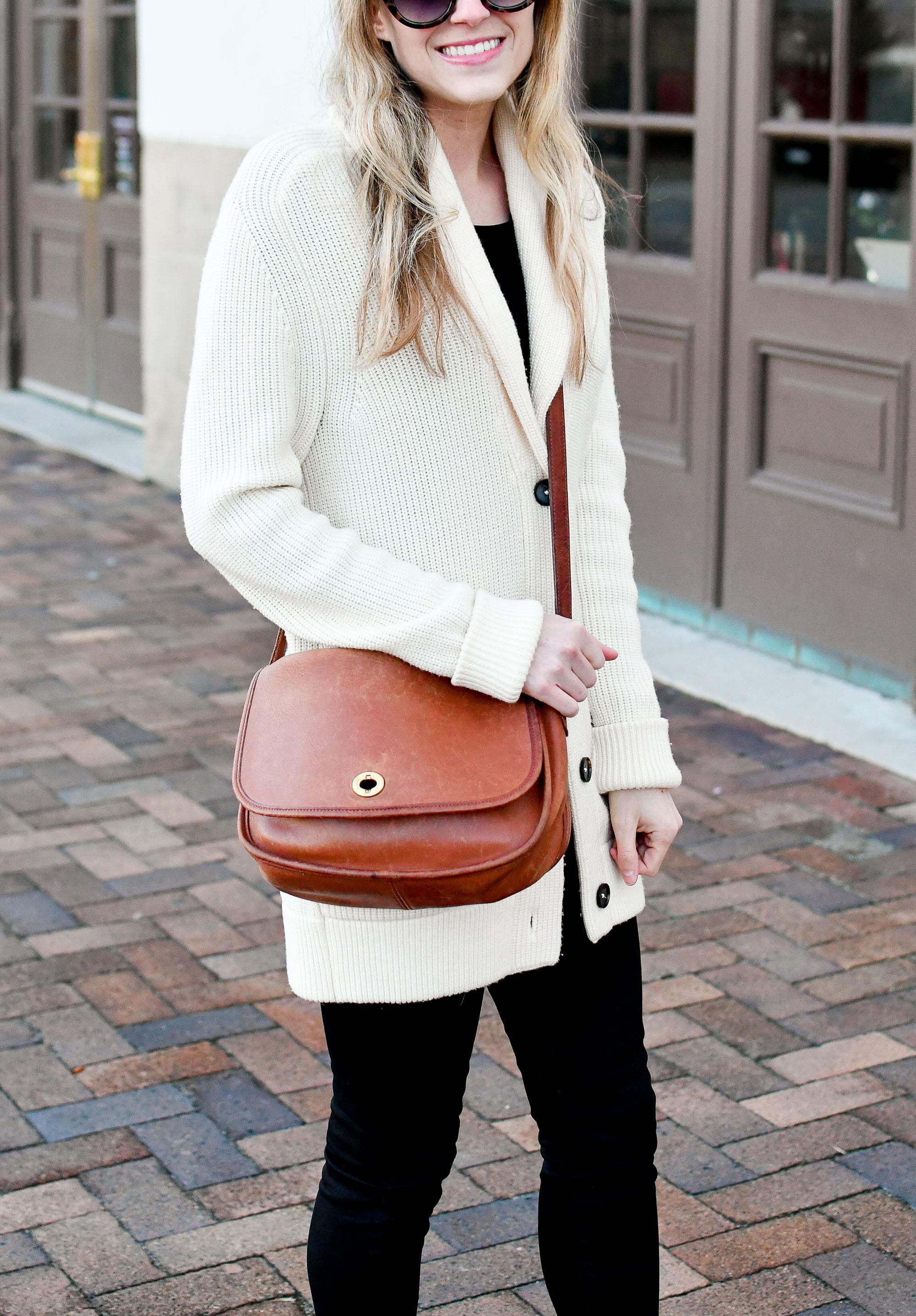 Vintage Coach City bag casual winter outfit — Cotton Cashmere Cat Hair
