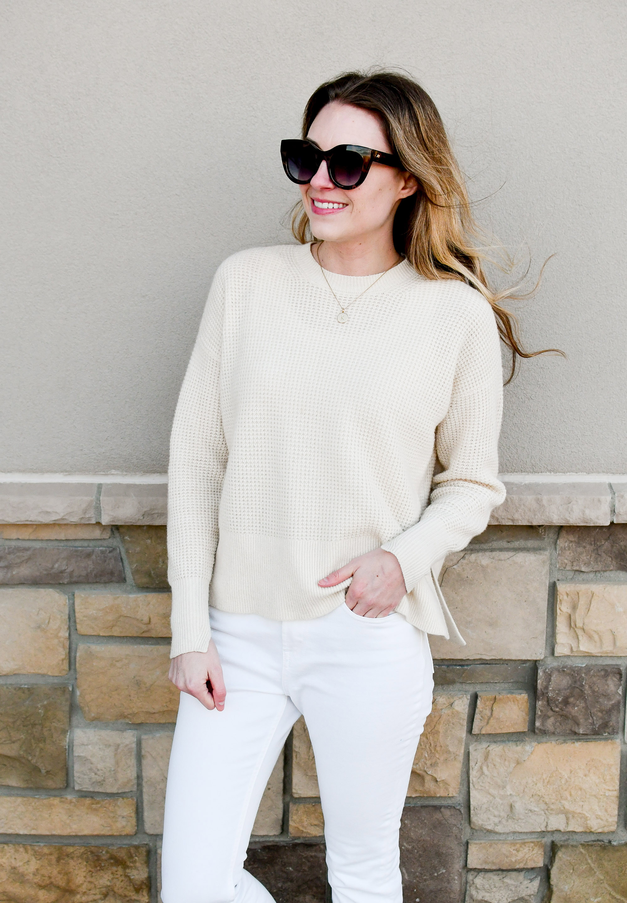 Ivory waffle knit cashmere sweater casual winter outfit — Cotton Cashmere Cat Hair