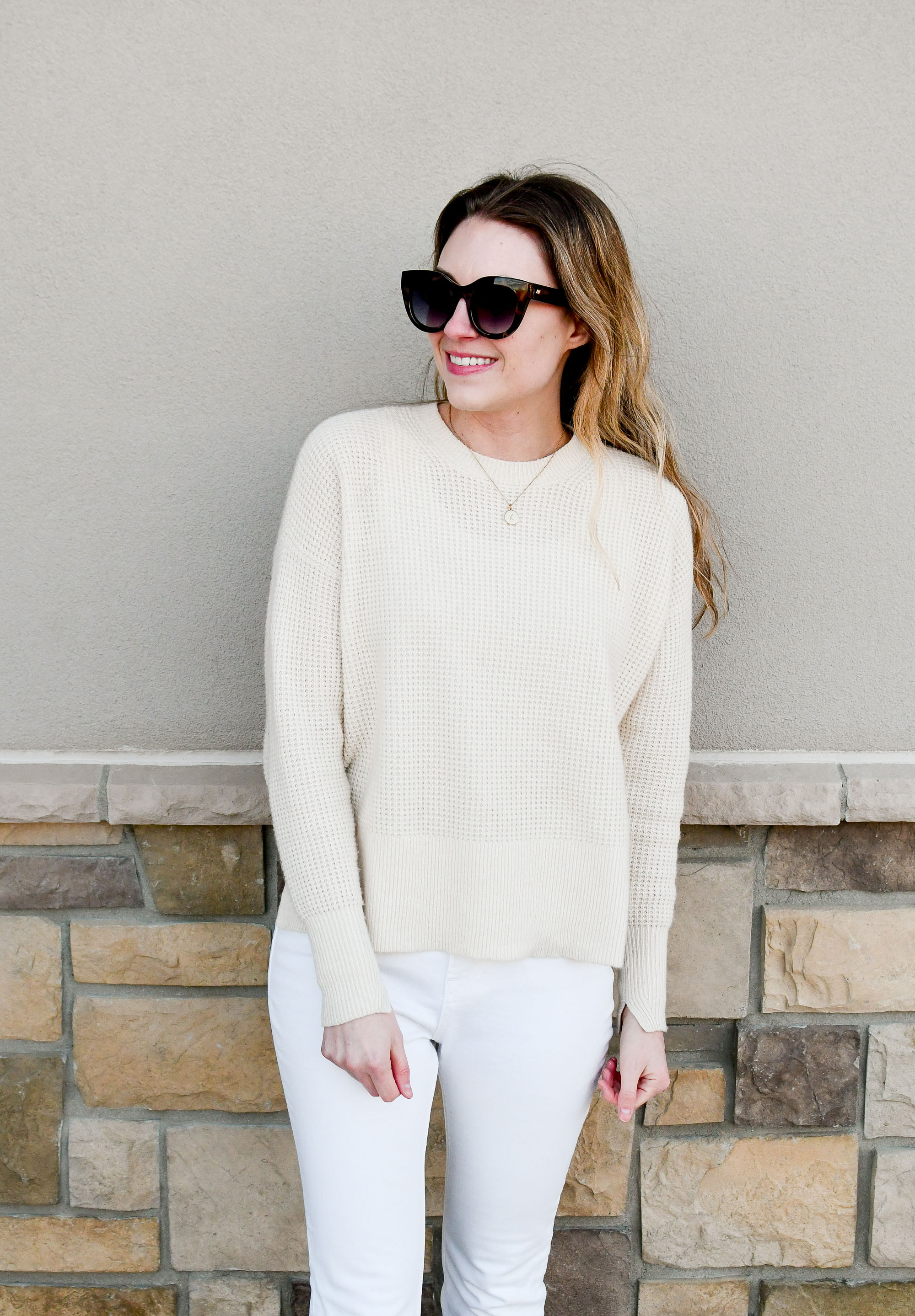 Everlane waffle knit cashmere sweater winter outfit — Cotton Cashmere Cat Hair