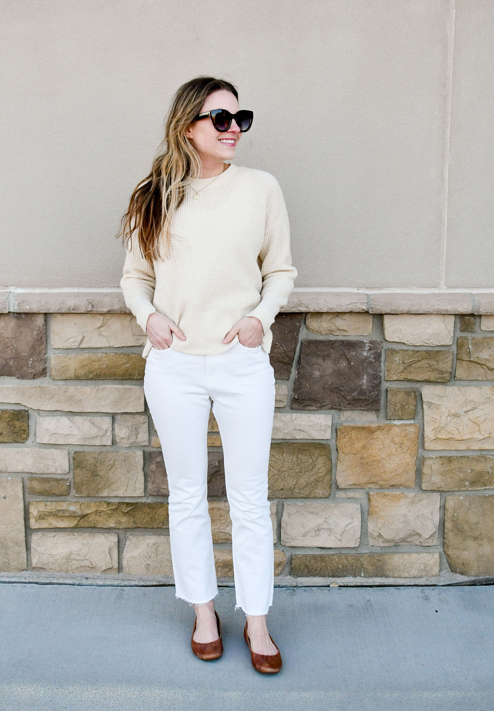 Monochrome winter outfit with Everlane cashmere sweater and Everlane kick crop jeans — Cotton Cashmere Cat Hair