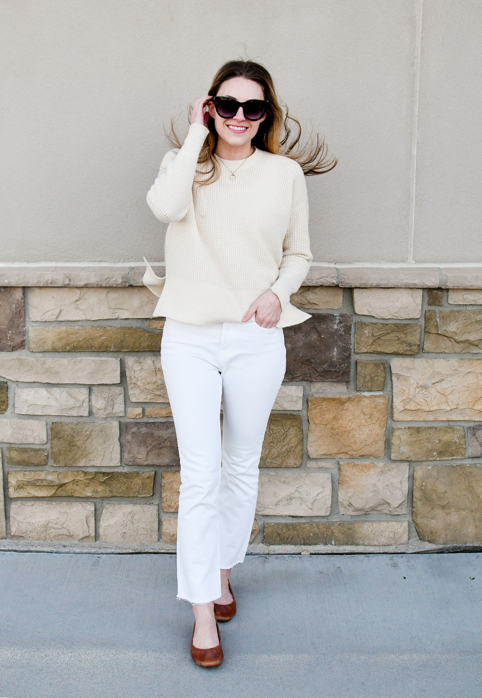 Everlane kick crop jeans casual winter outfit with waffle knit cashmere — Cotton Cashmere Cat Hair