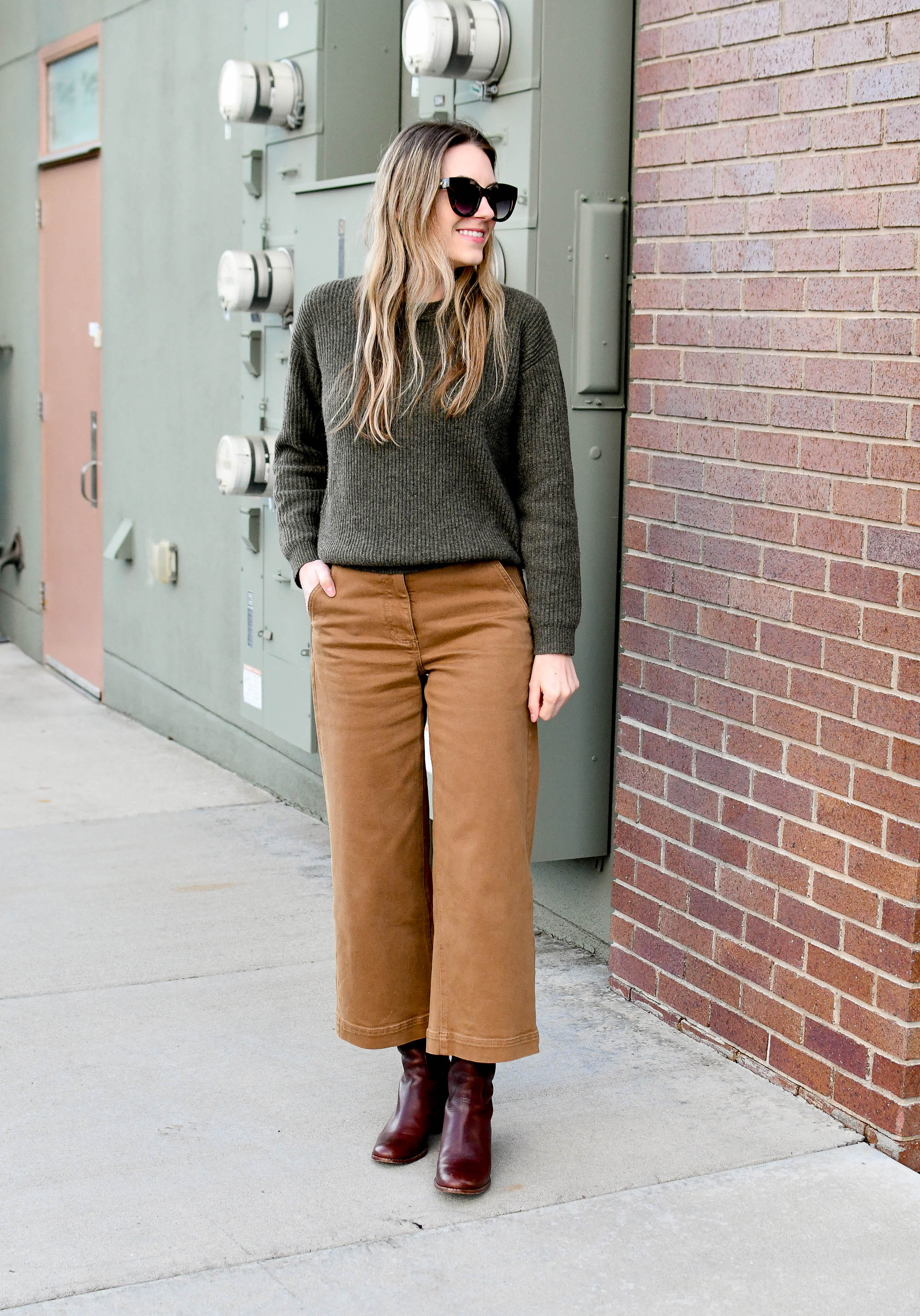 Green cashmere sweater, tan wide leg crop pants, brown tall boots — Cotton Cashmere Cat Hair