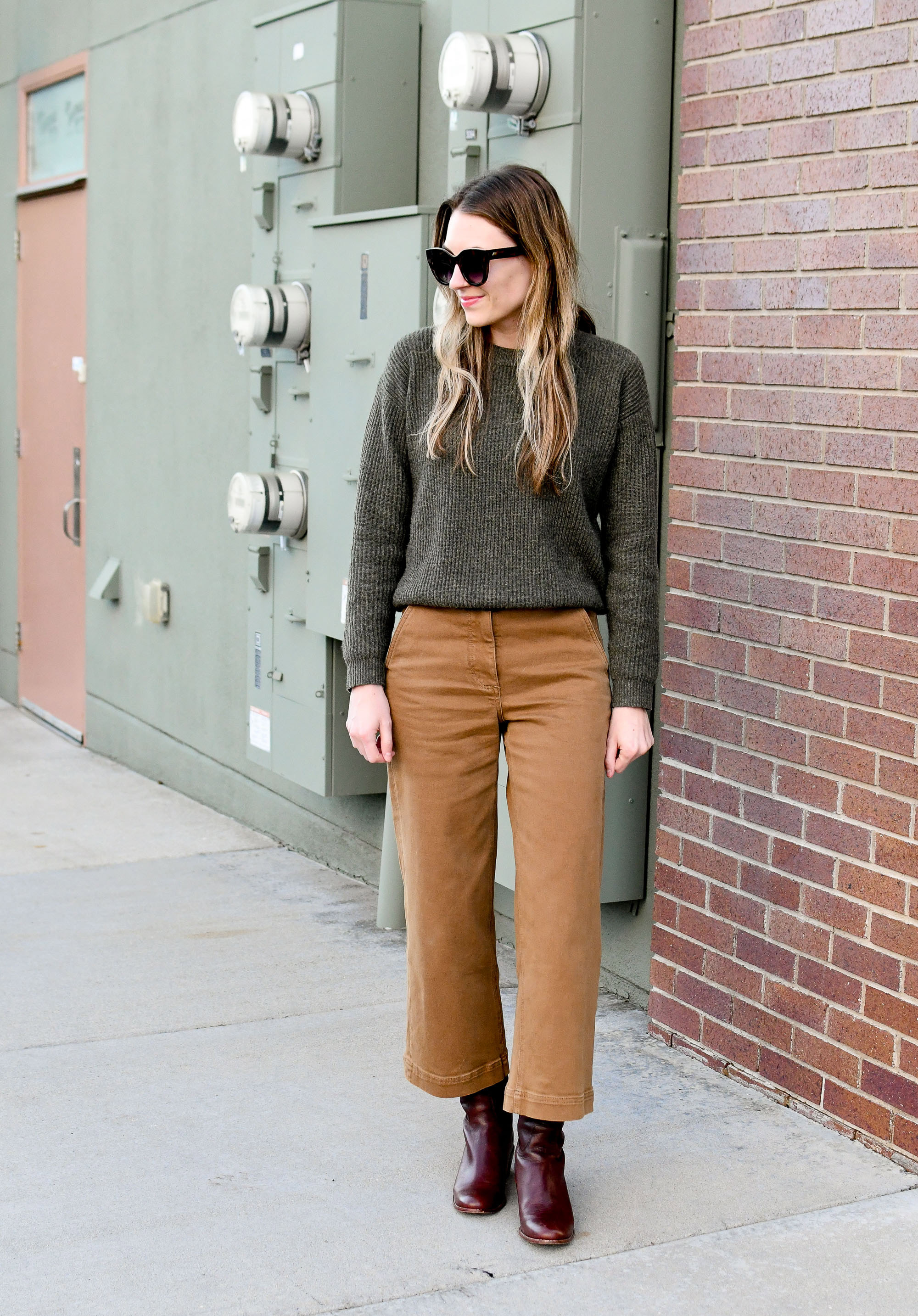 Everlane wide leg crop pants in ochre winter outfit — Cotton Cashmere Cat Hair