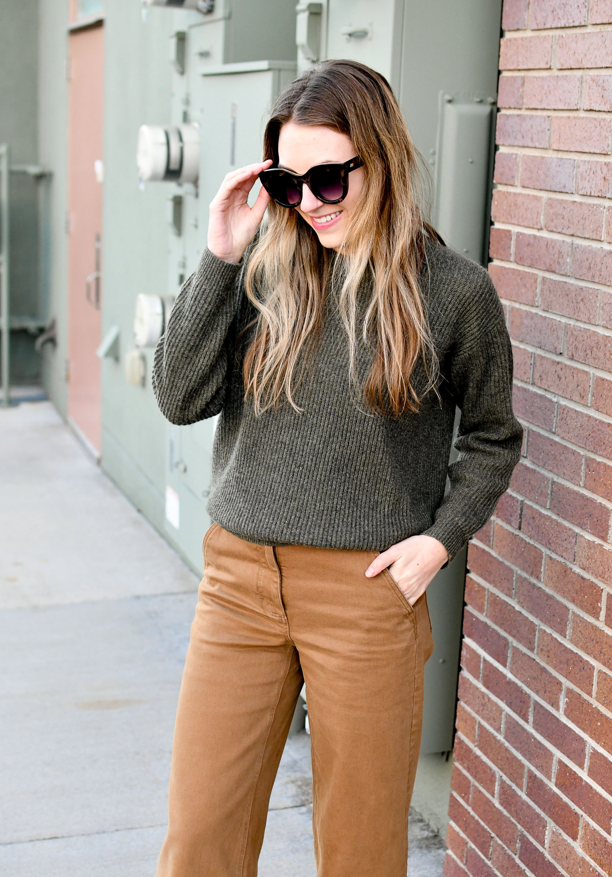 Loden cashmere sweater + ochre wide leg pants winter outfit — Cotton Cashmere Cat Hair