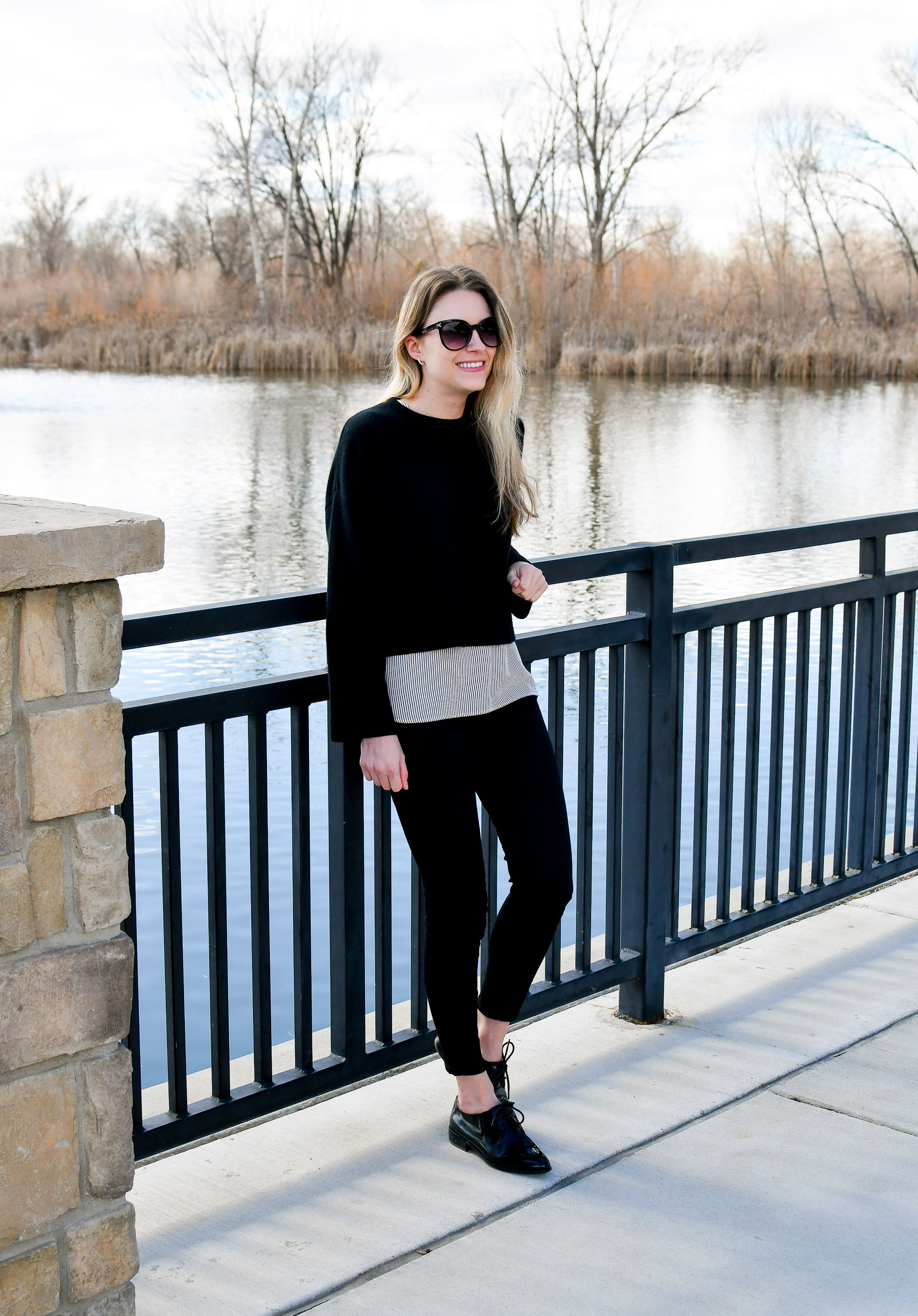 Monochrome and casual winter outfit — Cotton Cashmere Cat Hair