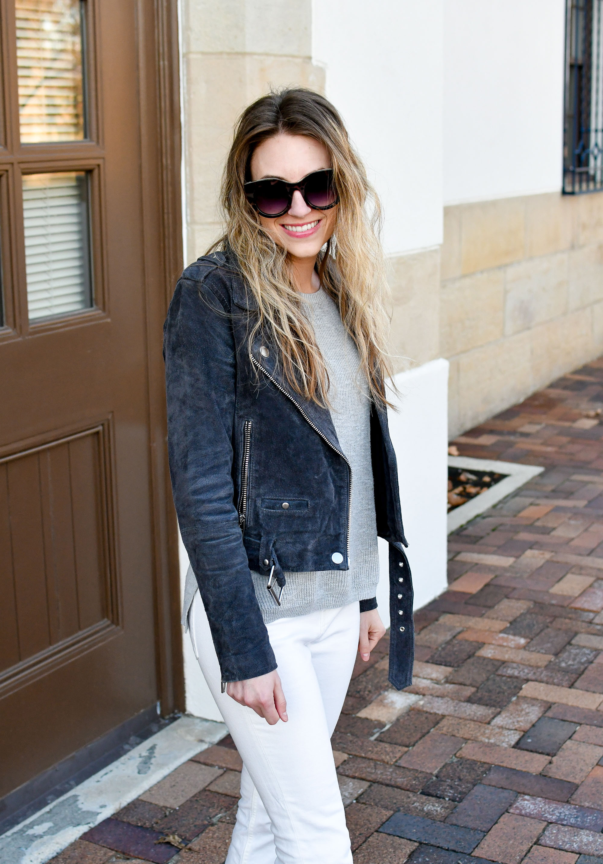 Charcoal grey suede jacket casual spring outfit — Cotton Cashmere Cat Hair