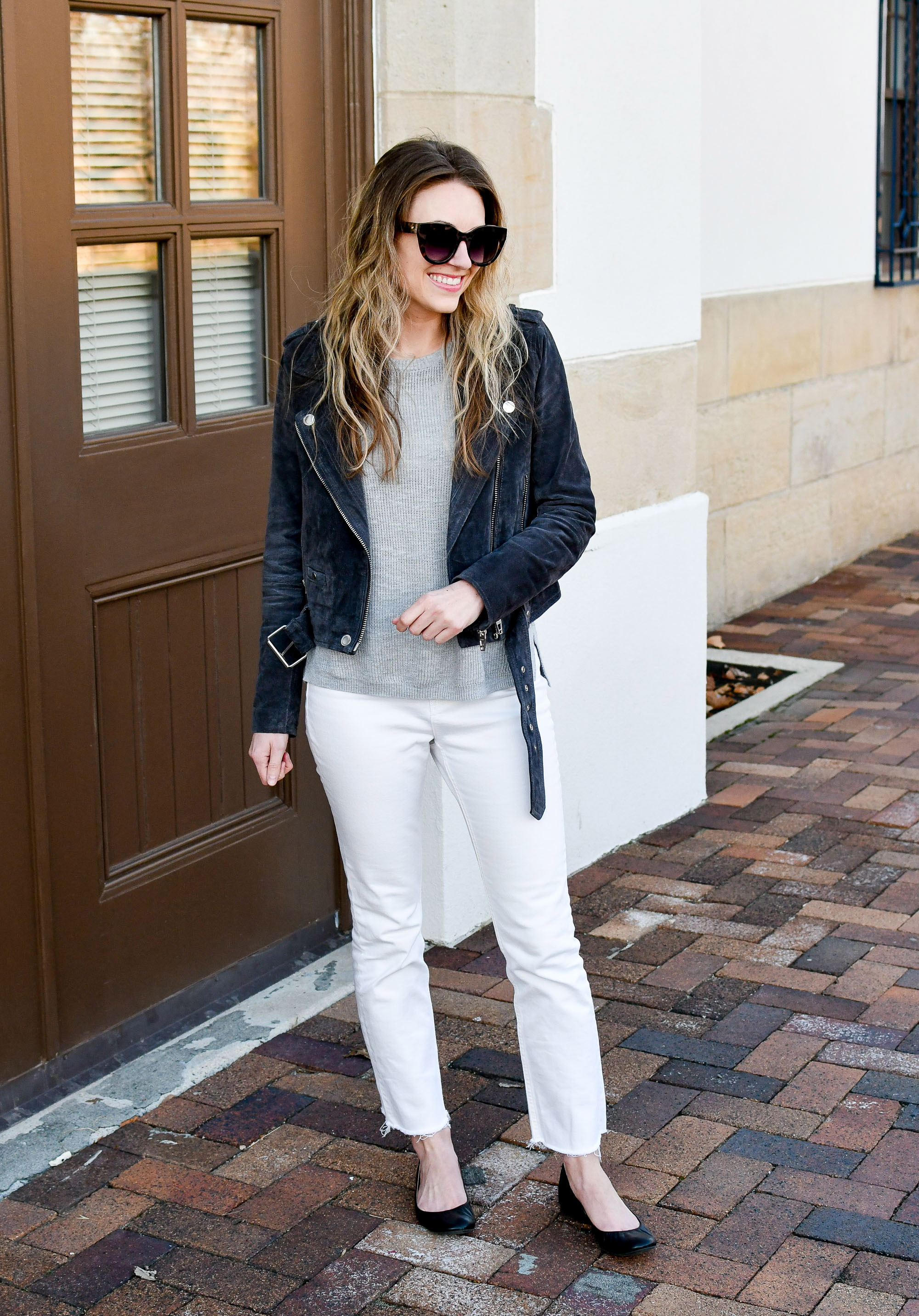 Everlane kick crop jeans in bone spring outfit with dark grey suede jacket — Cotton Cashmere Cat Hair