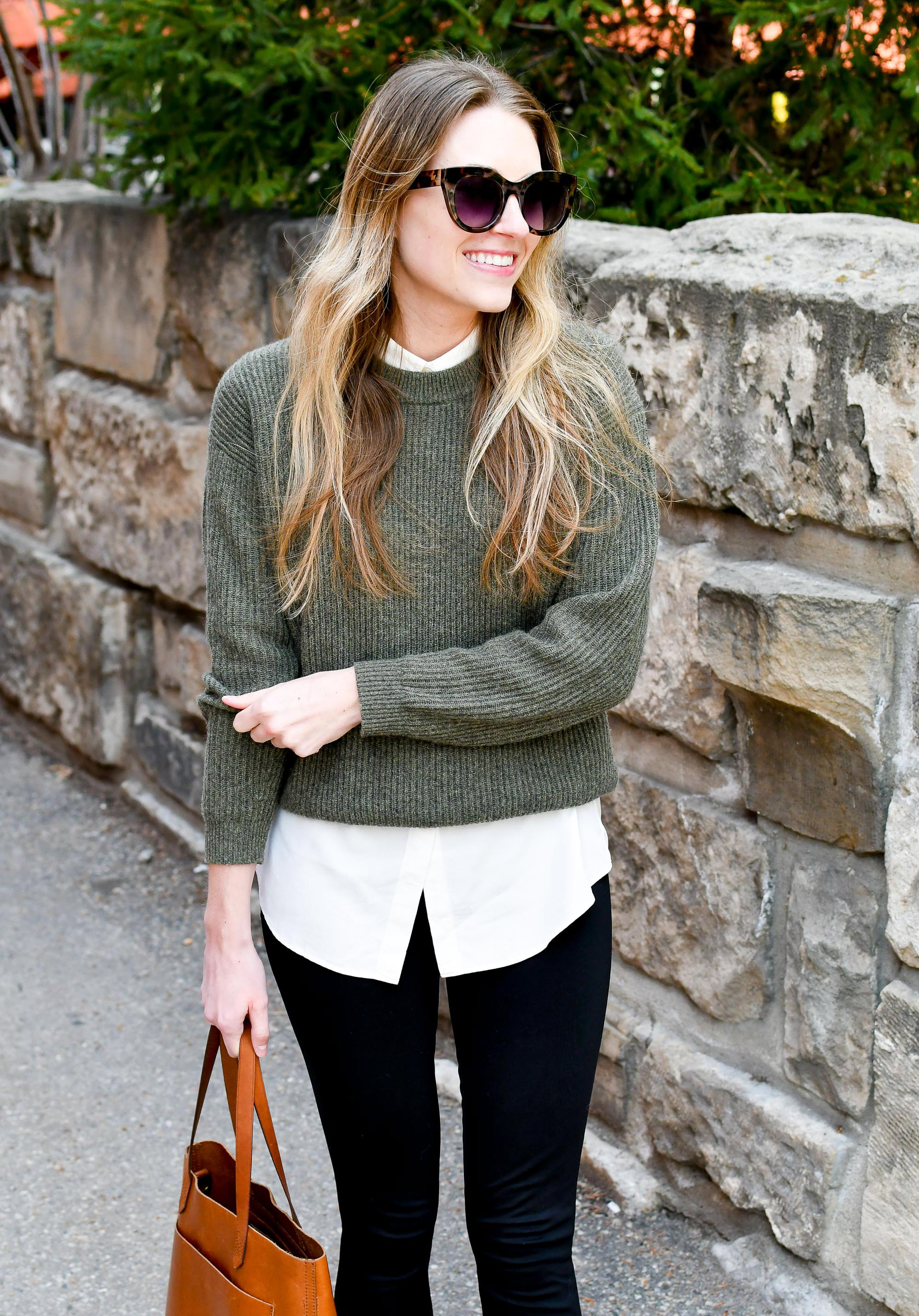 Cashmere sweater layered spring work outfit — Cotton Cashmere Cat Hair