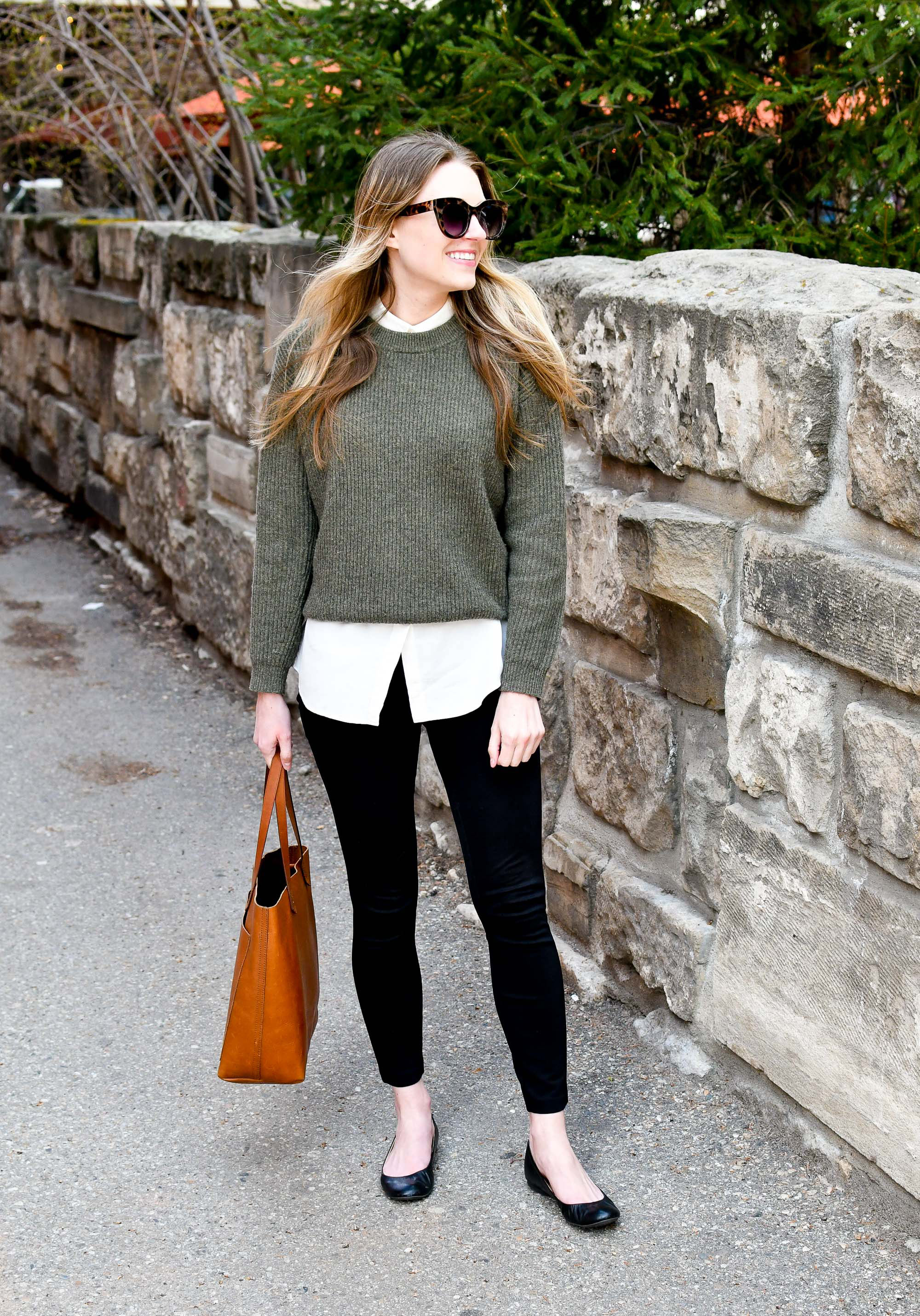 Madewell medium Transport tote spring work outfit with green sweater and ponte pants — Cotton Cashmere Cat Hair