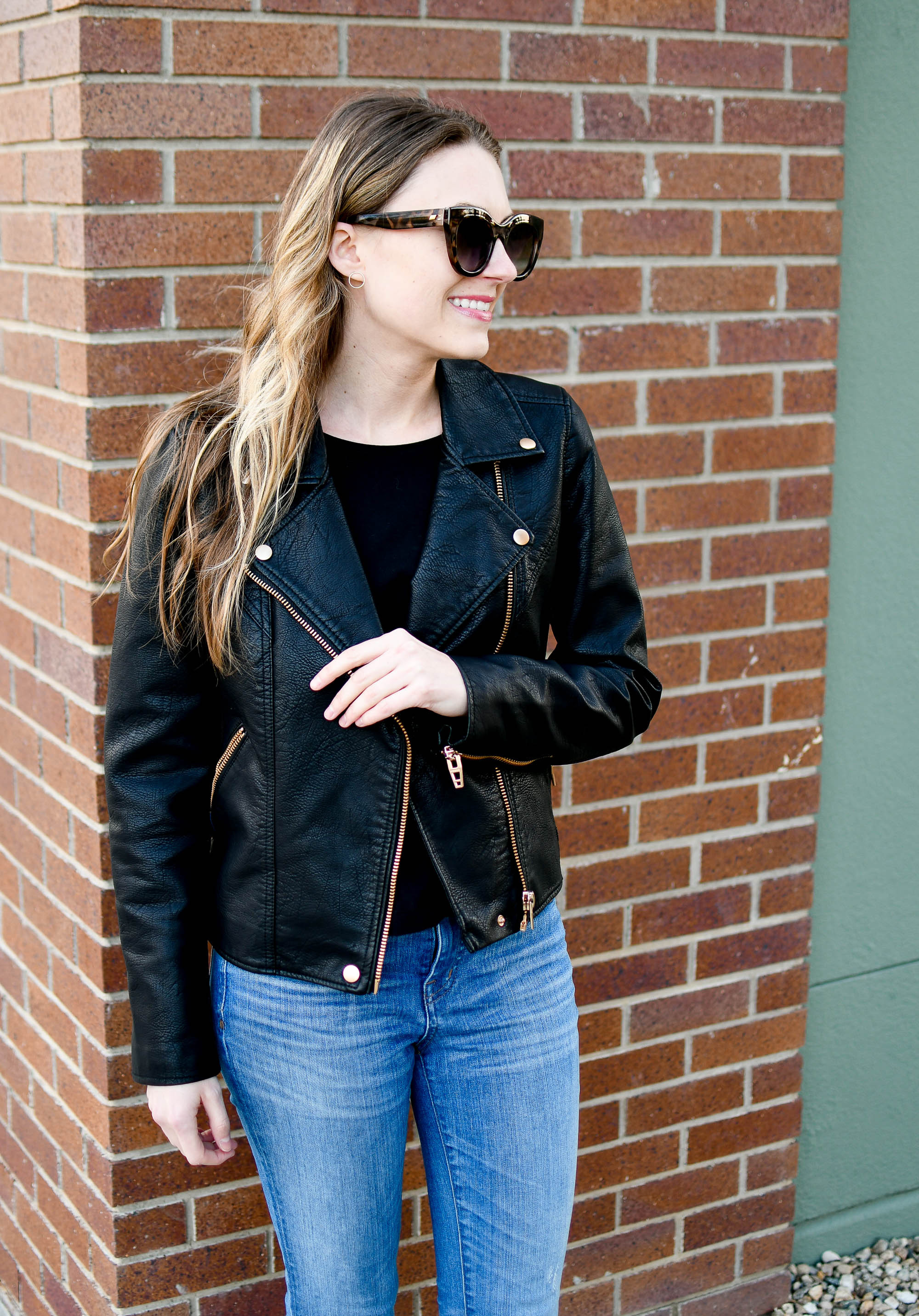 BlankNYC faux leather moto jacket outfit — Cotton Cashmere Cat Hair