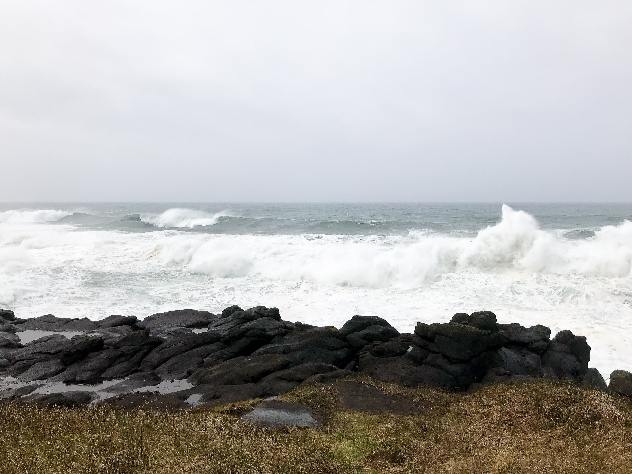 Pacific Ocean at Boiler Bay Viewpoint, Oregon Coast — Cotton Cashmere Cat Hair