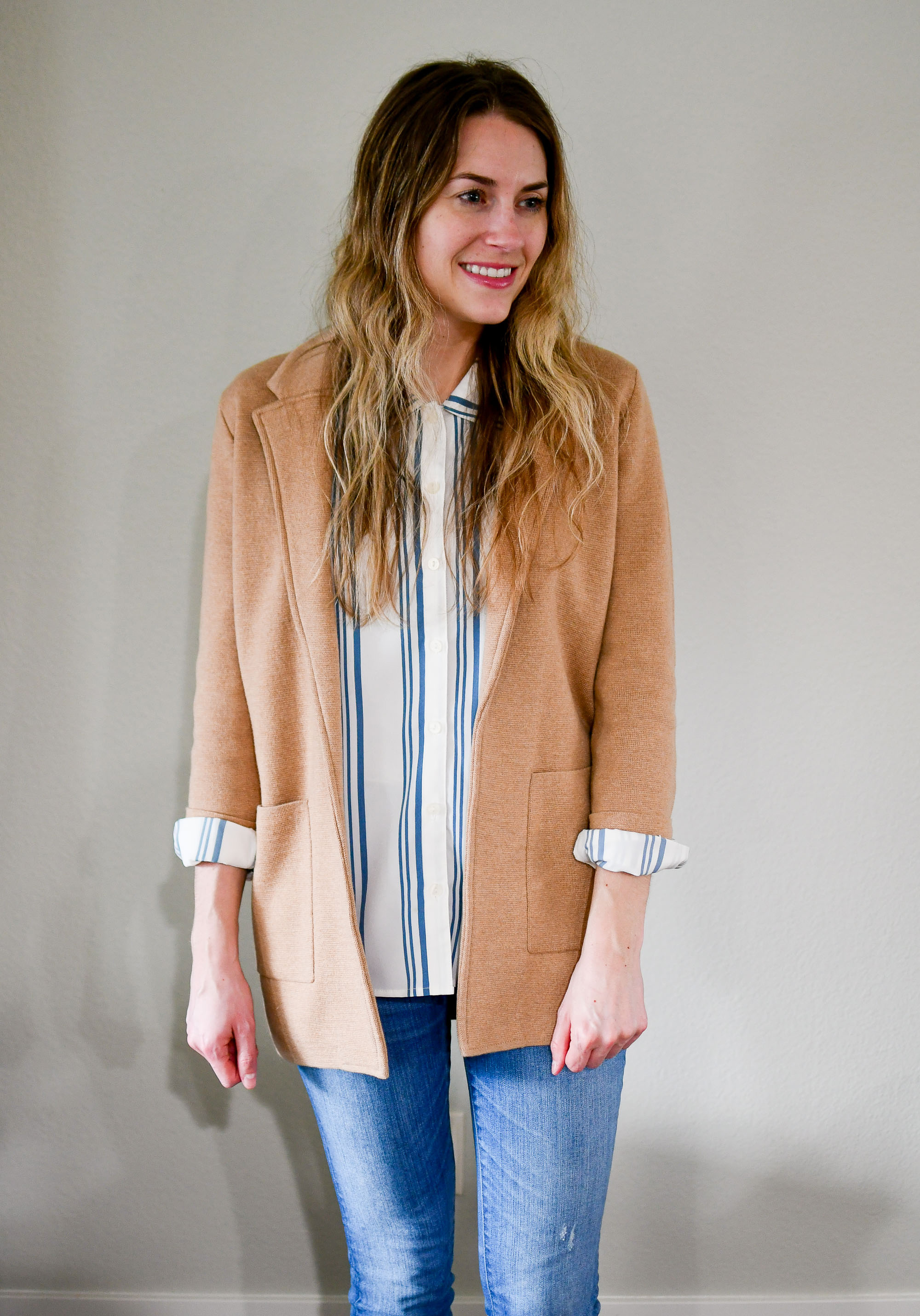 Camel sweater blazer work outfit — Cotton Cashmere Cat Hair